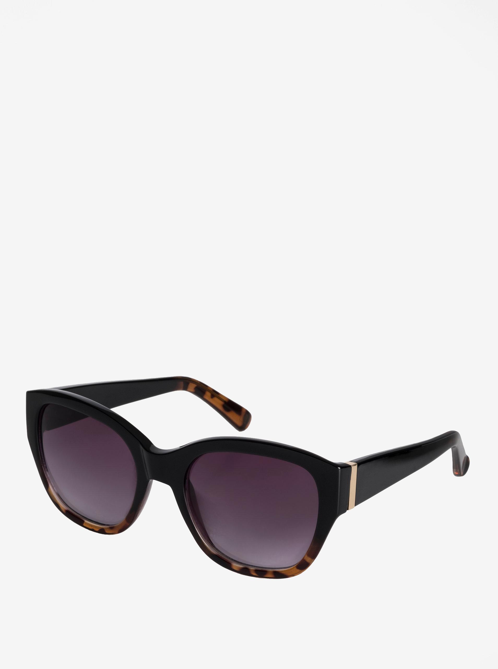 Čierne dámske slnečné okuliare s pozlátenými detailmi Pilgrim Edita ... 1063c47a216