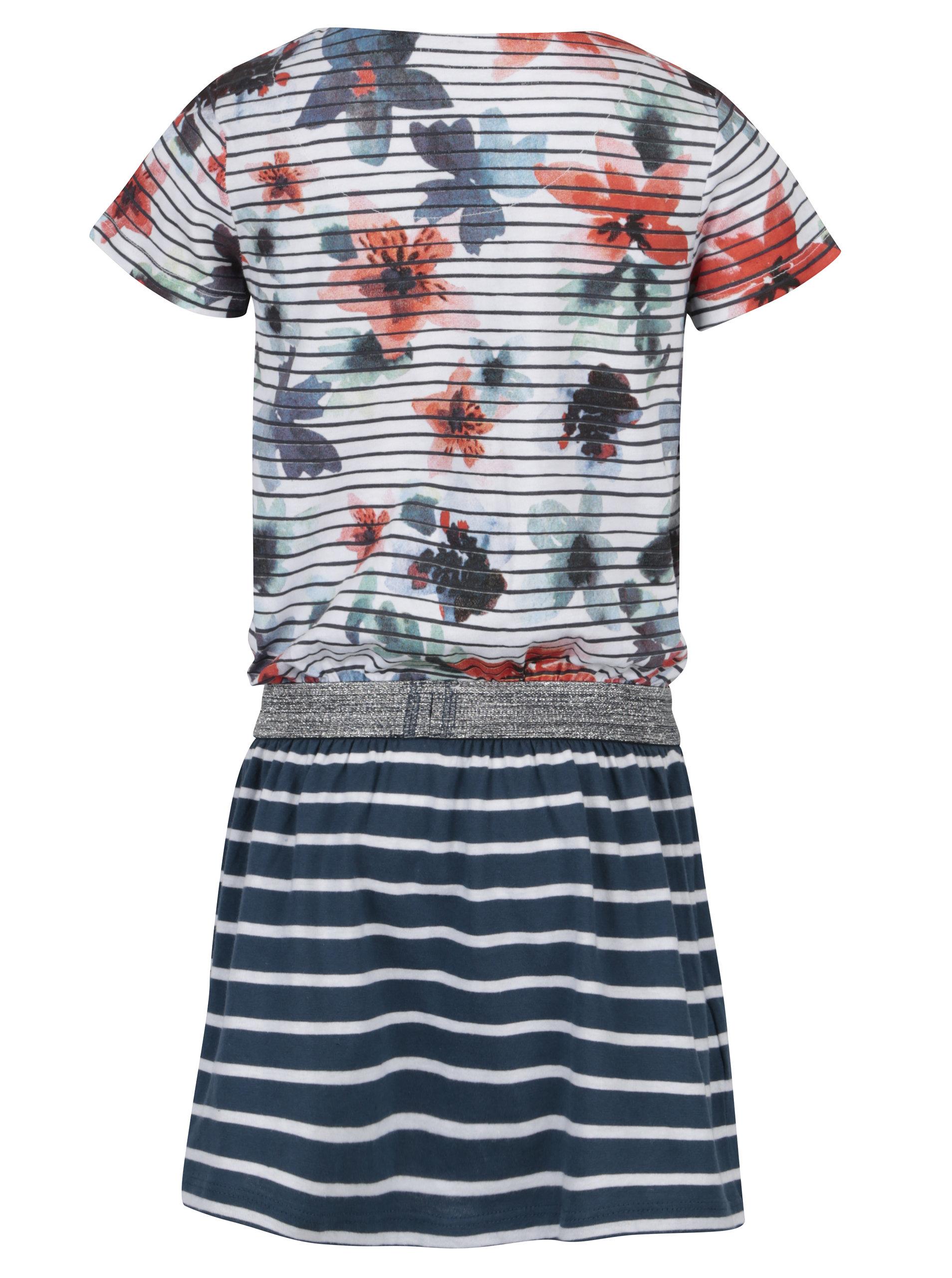 cad5fec0161b Bielo-modré dievčenské pruhované šaty Bóboli ...