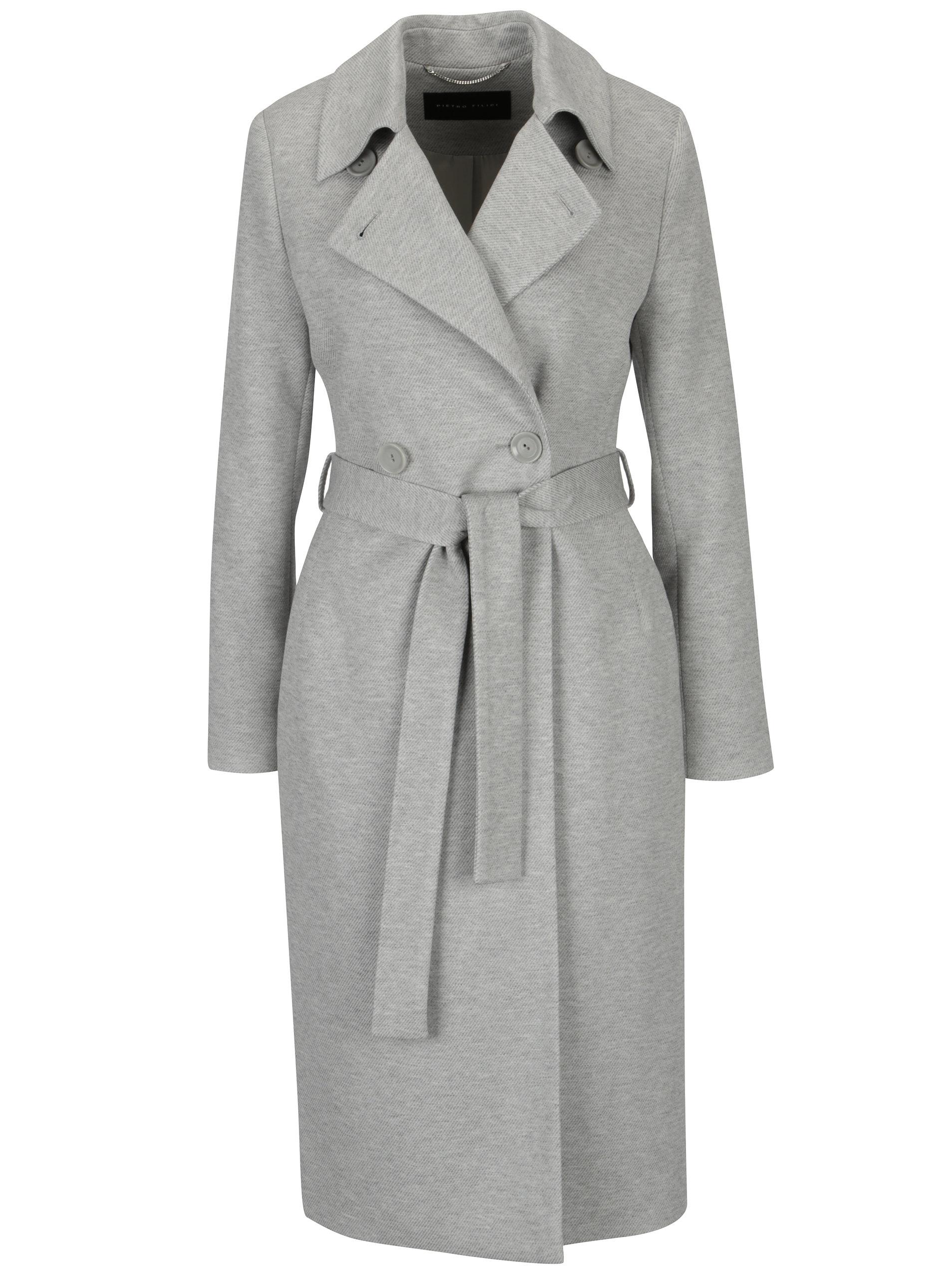 Sivý melírovaný dámsky kabát Pietro Filipi ... 01ff7a8678d