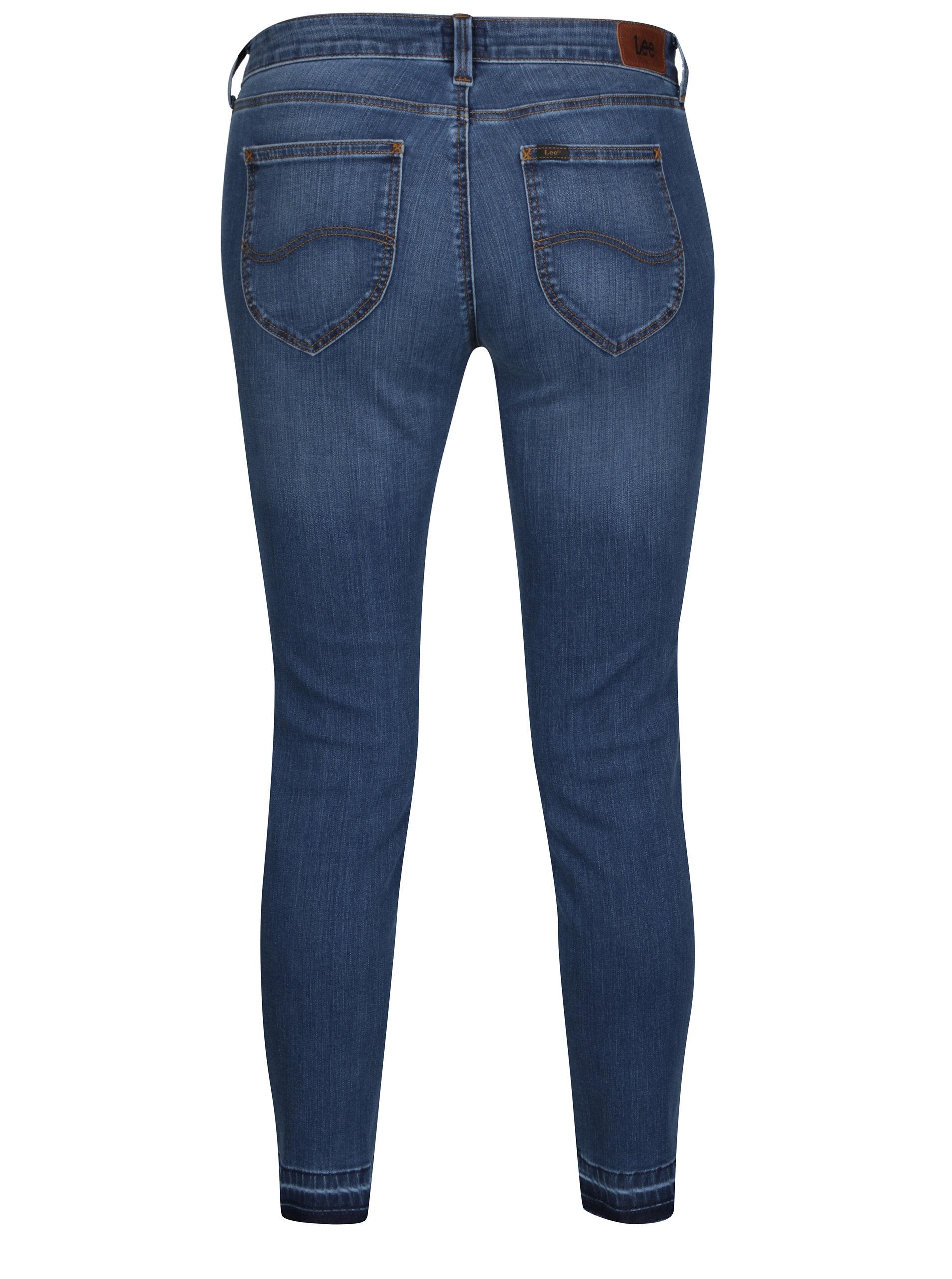 f88e9c7d1d3 Modré dámské zkrácené skinny džíny s nízkým pasem Lee Scarlett ...