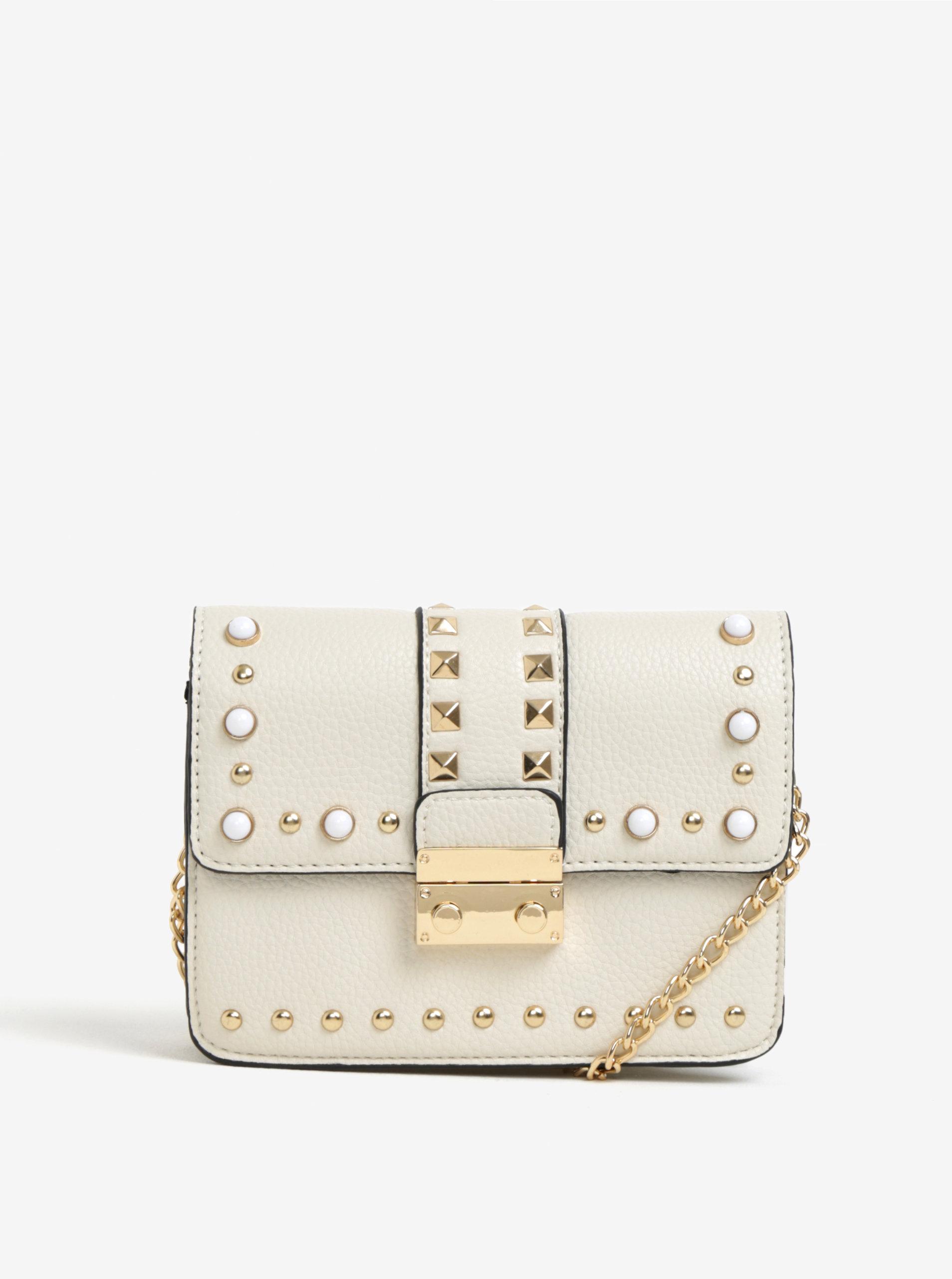 41c1b6ad7396e Krémová crossbody kabelka s detailmi v zlatej farbe Miss Selfridge ...