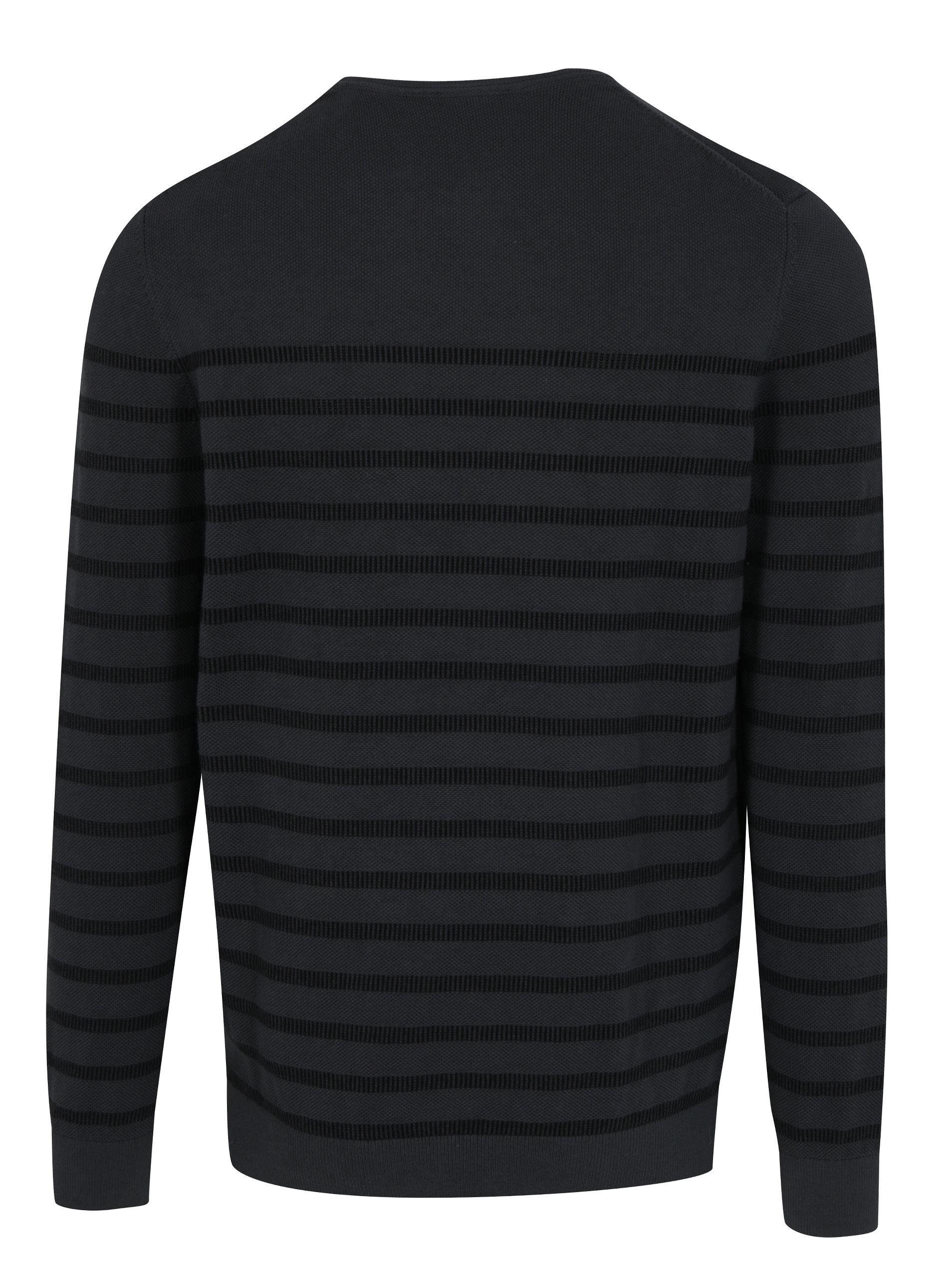 Tmavě šedý pánský pruhovaný svetr s.Oliver  74e2b7f2ff