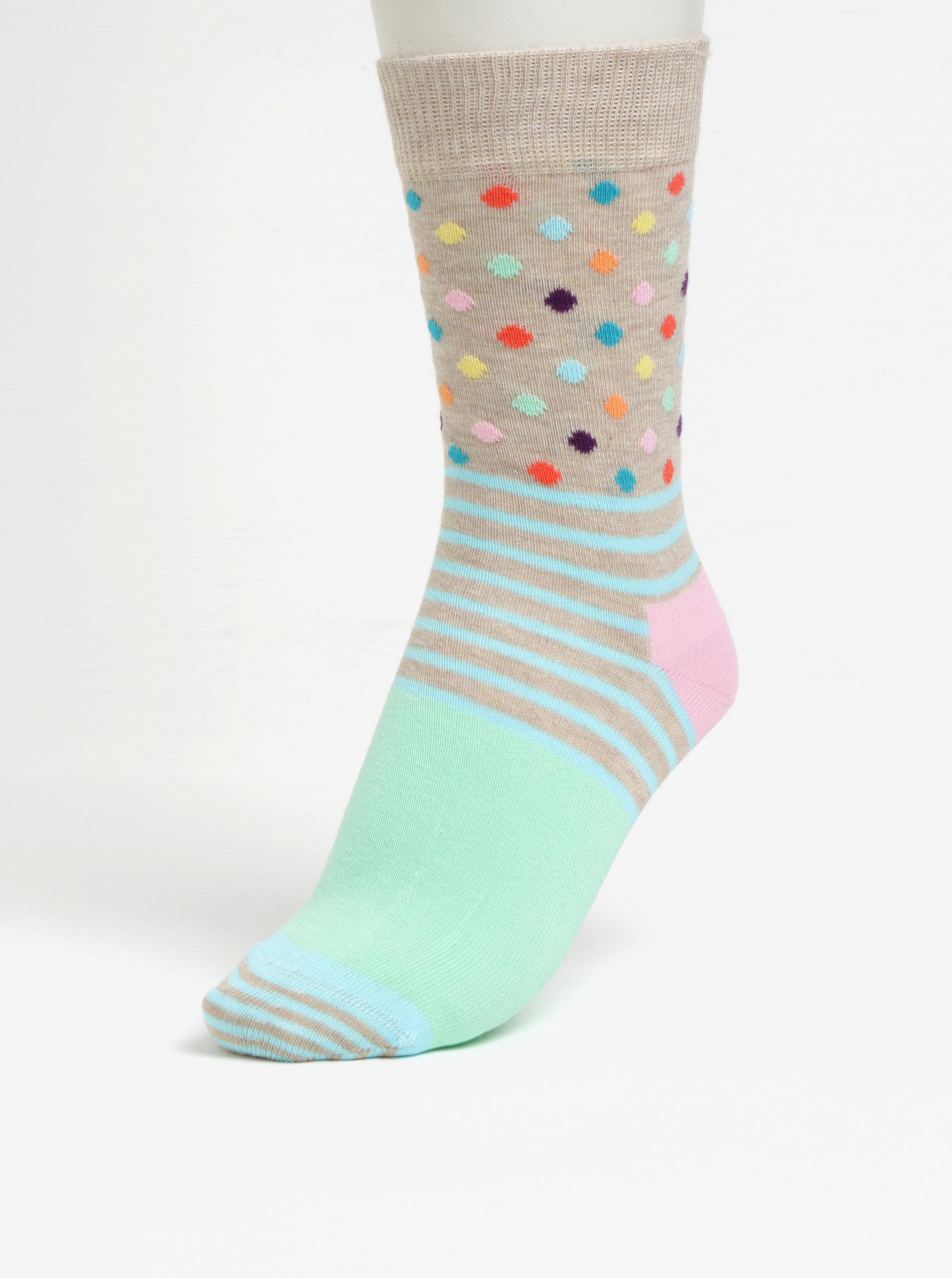 Zeleno-béžové dámské vzorované ponožky Happy Socks Stripes Dots ... 9f63299995