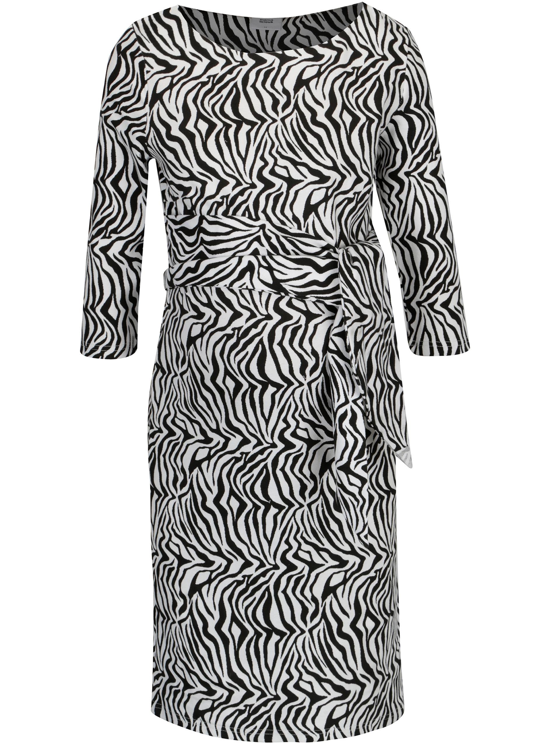 Čierno-biele vzorované šaty Mama.licious Zebra ... b427536926c