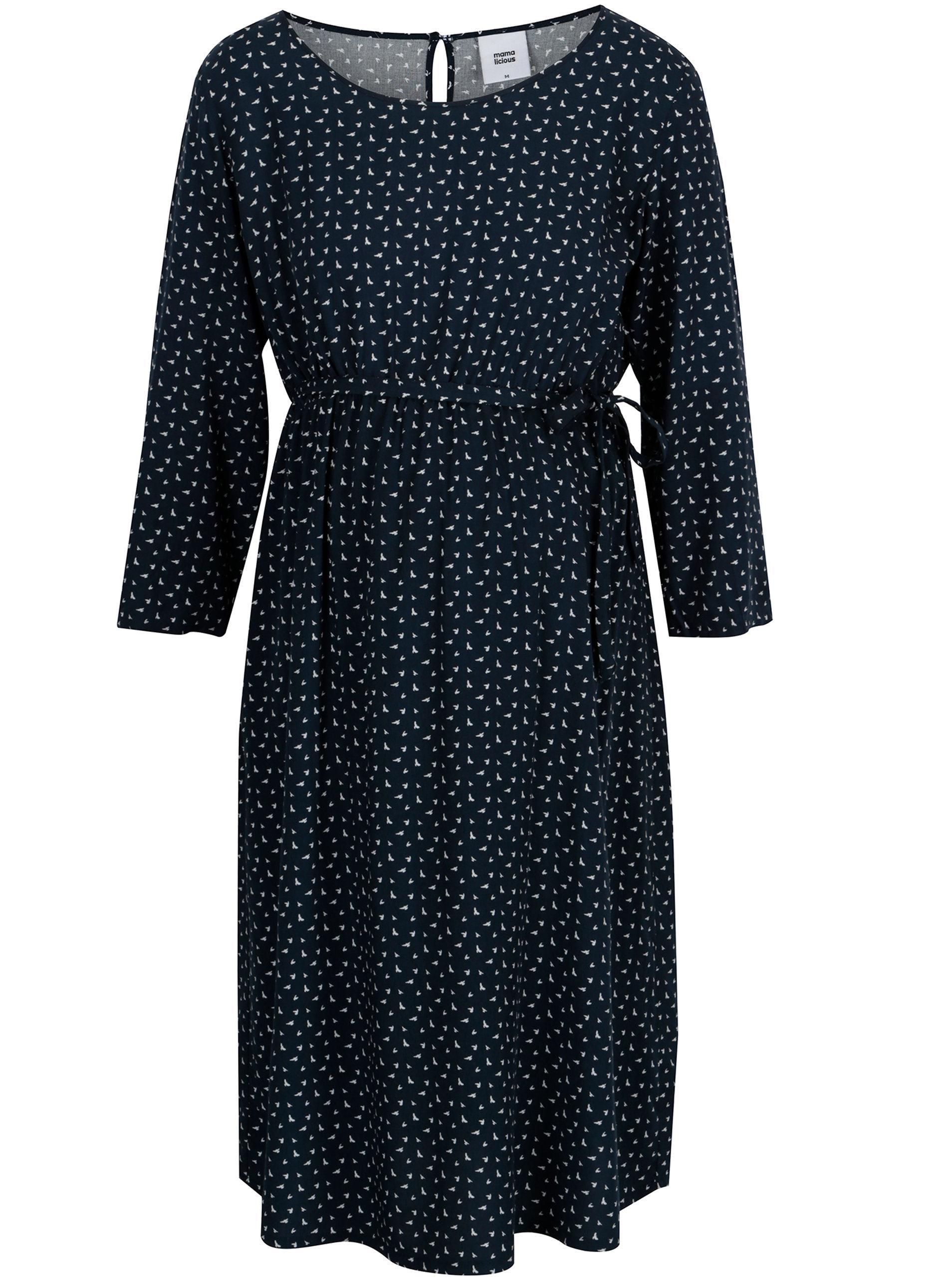 Tmavě modré těhotenské vzorované šaty Mama.licious South ... 45fa30f717