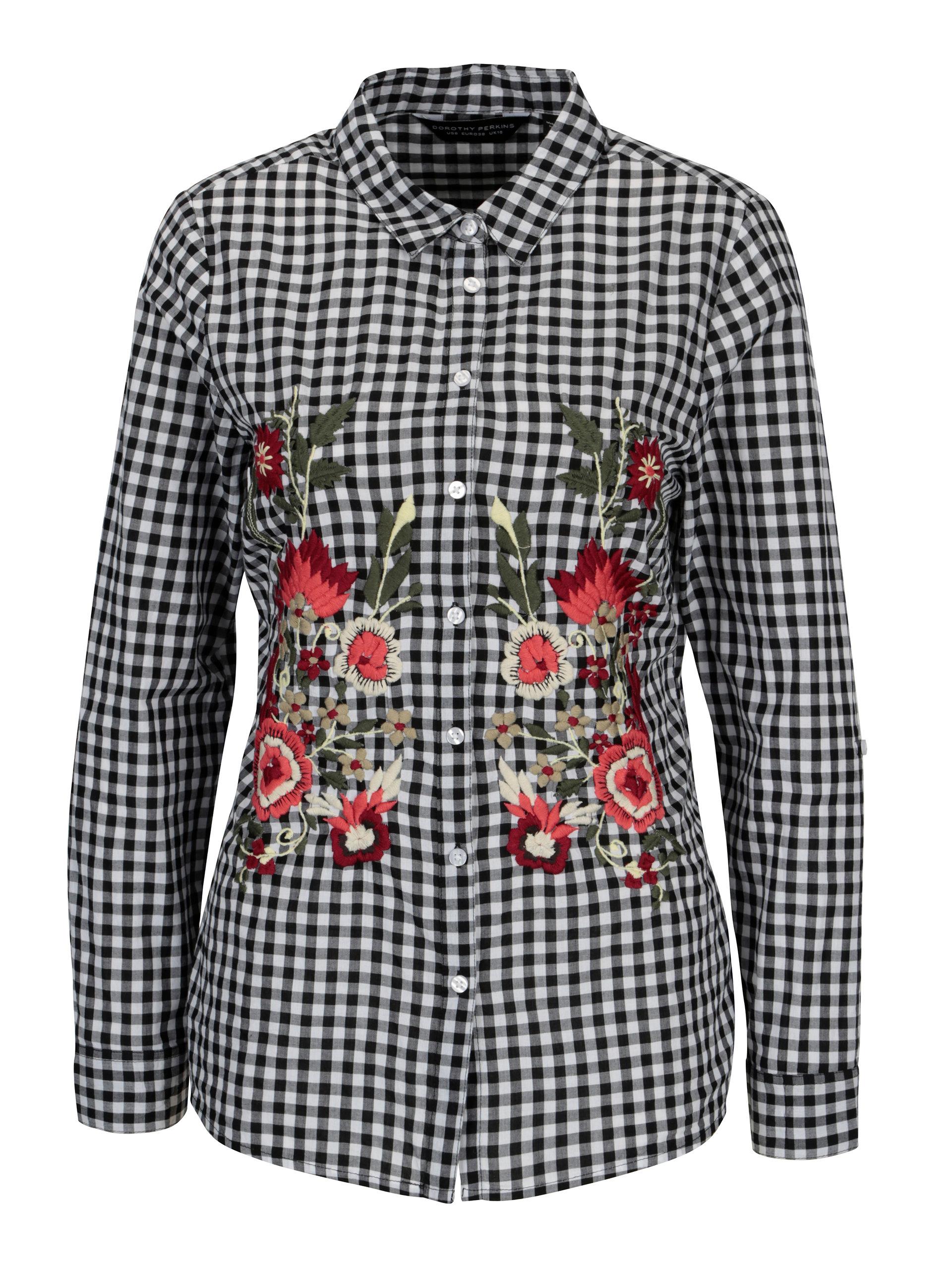 810af14e6 Bielo–čierna kockovaná košeľa s vyšívanými kvetmi Dorothy Perkins ...