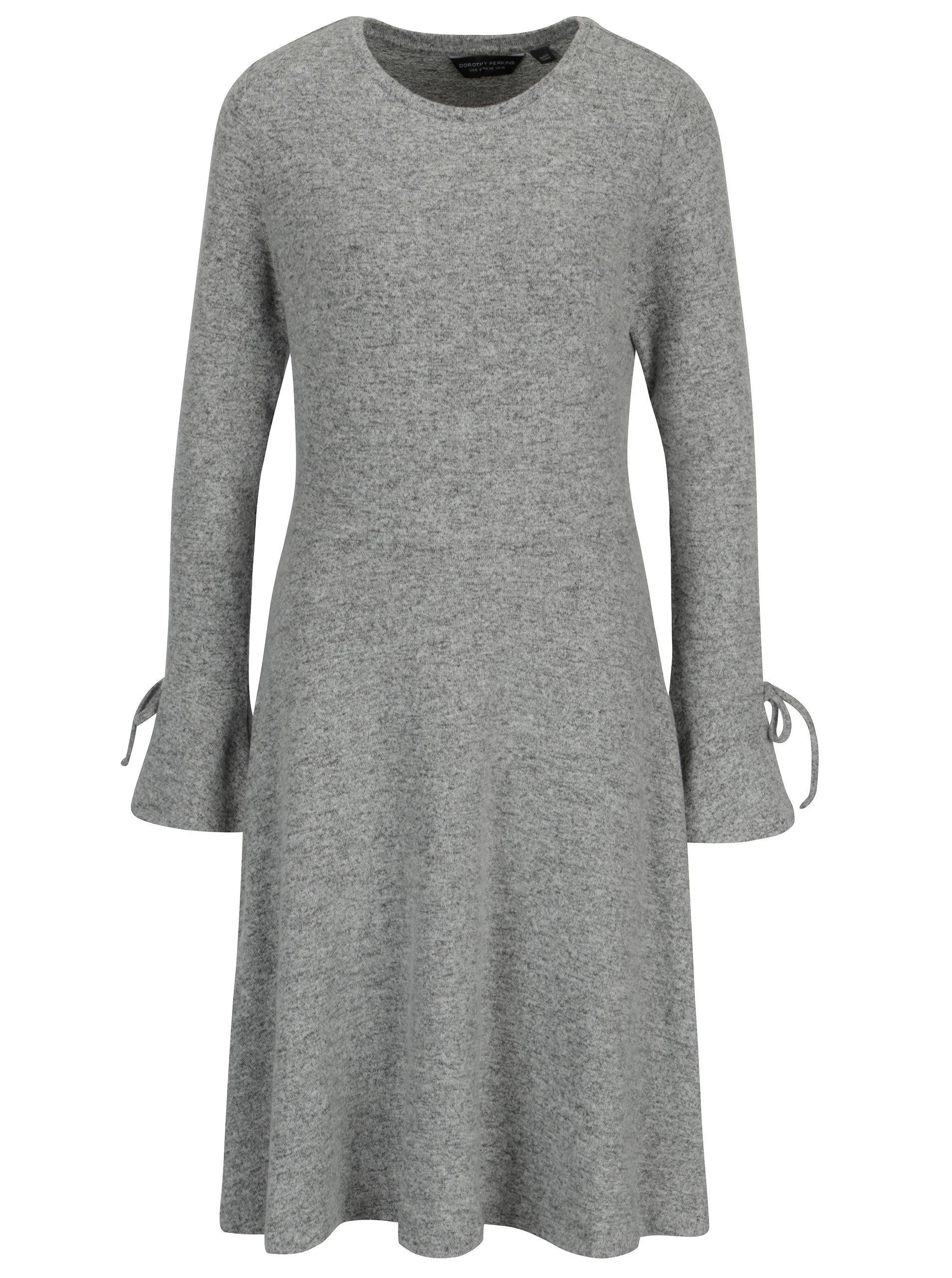 e554fa06e6dd Sivé melírované svetrové šaty s dlhým rukávom Dorothy Perkins Tall ...