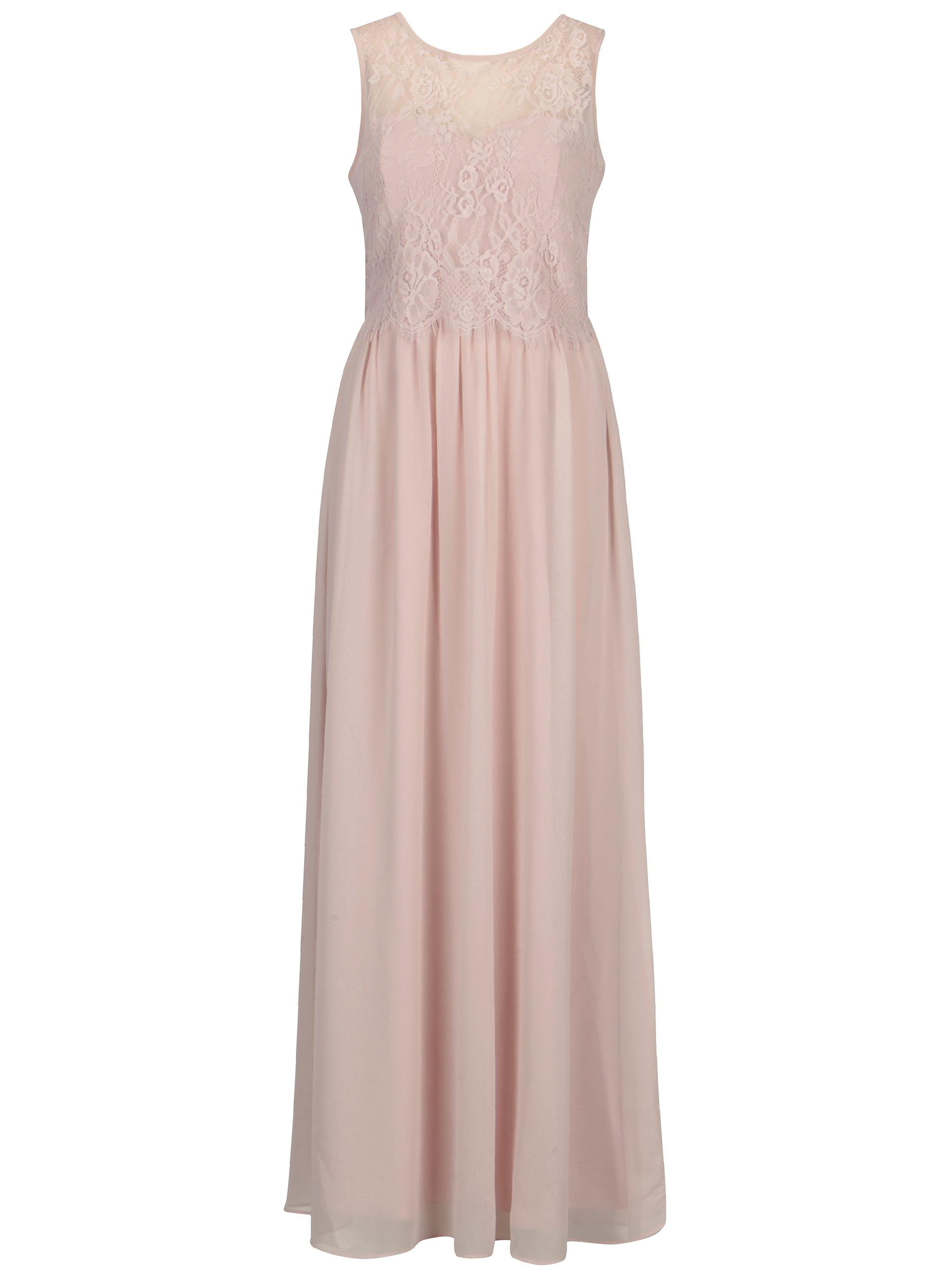Světle růžové maxišaty s krajkovým topem Dorothy Perkins ... 4bbcaf59ef