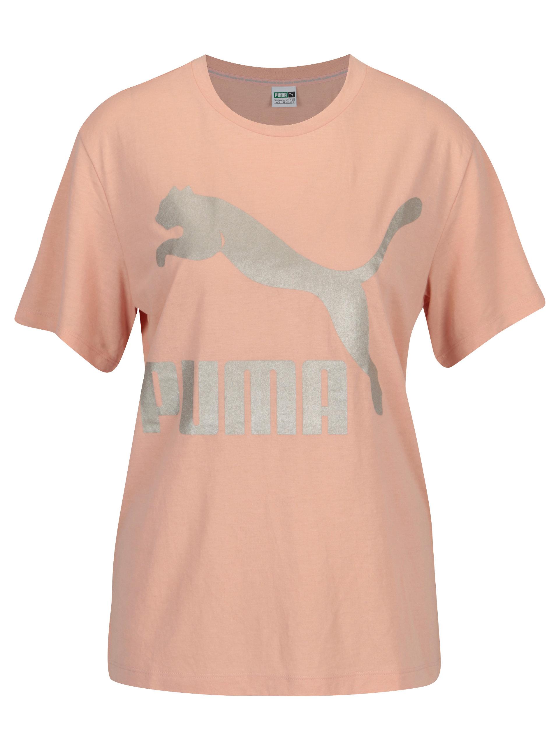 Růžové dámské tričko s potiskem Puma ... b32e58f532