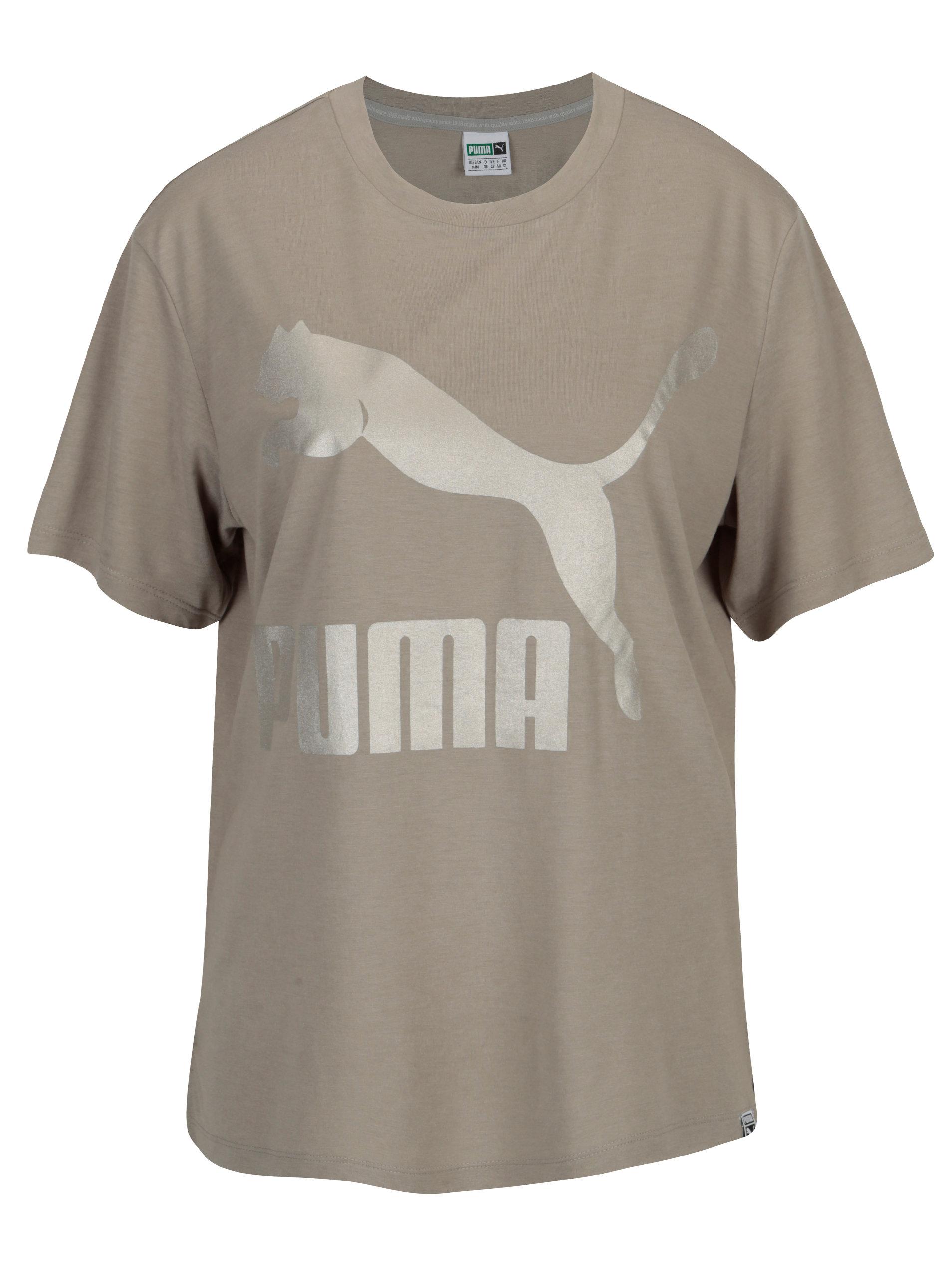 Šedé dámské tričko s potiskem Puma ... 7ab51422f0