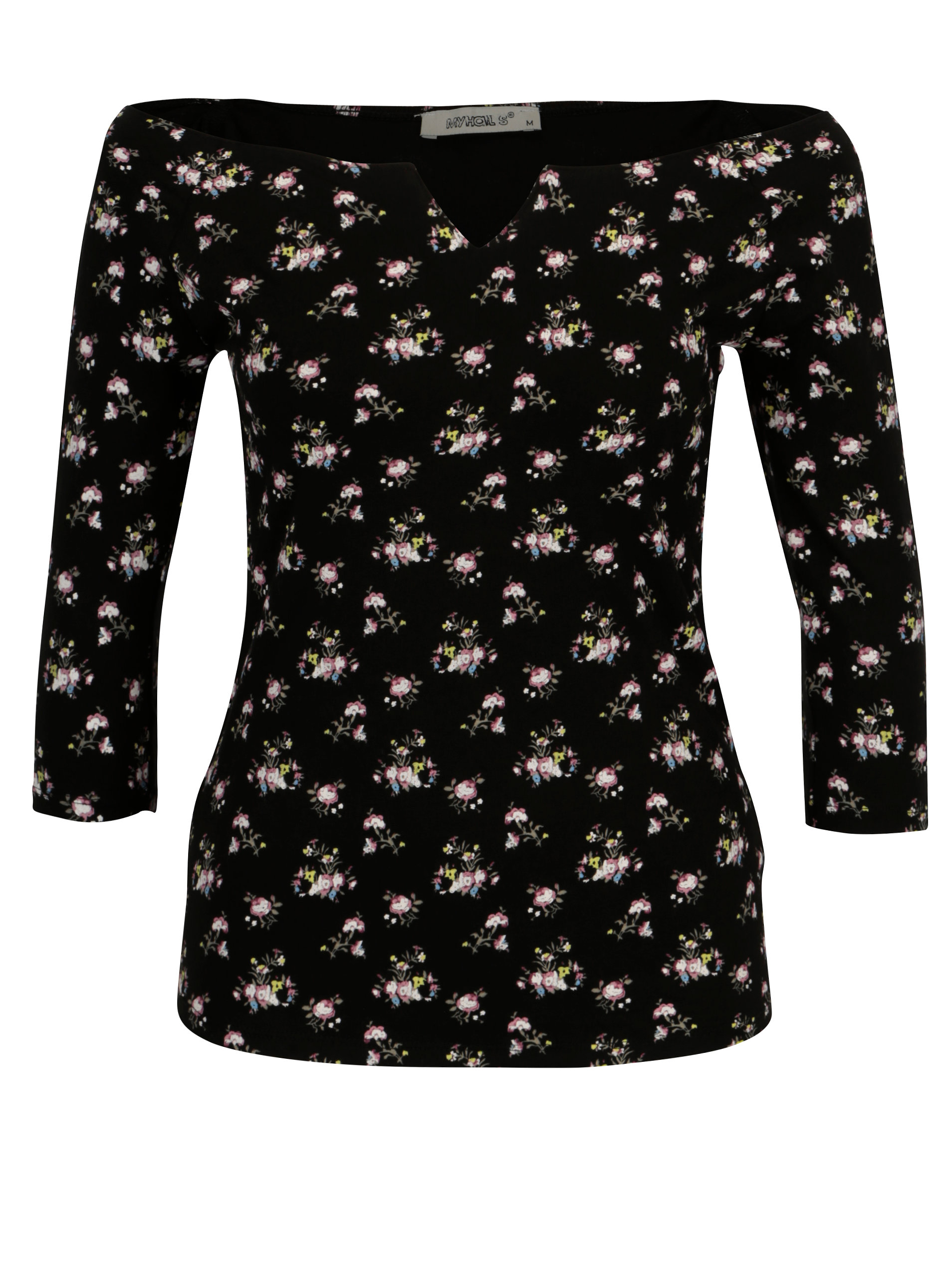 Černý květovaný top s holými rameny Haily s Racheline f71dd9444a