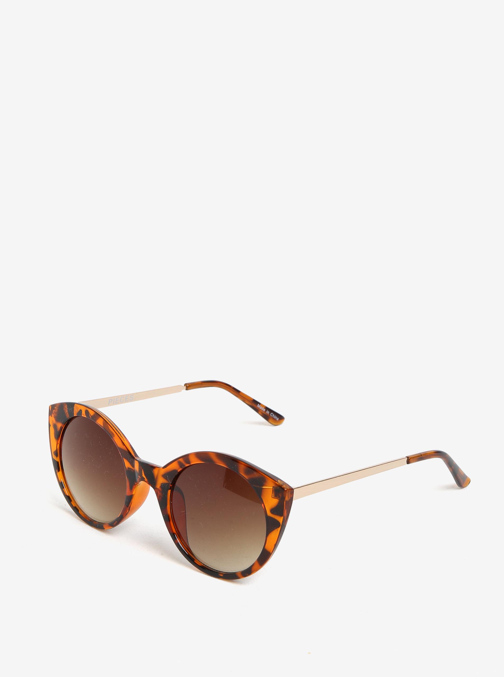 Hnedé vzorované slnečné okuliare Pieces Malisa ... 217f7176568