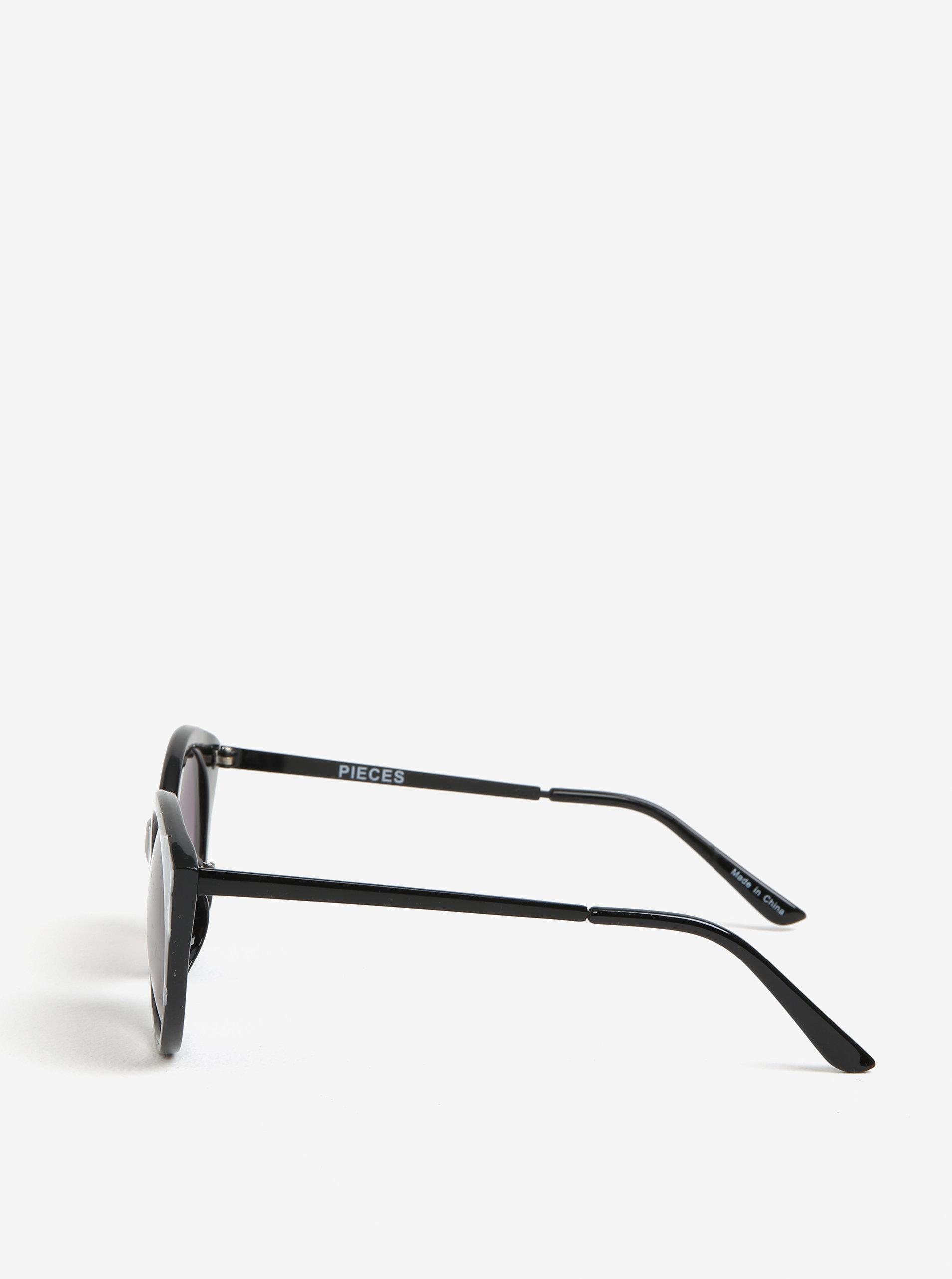 Sivo-čierne vzorované slnečné okuliare Pieces Malisa ... f02924ee814