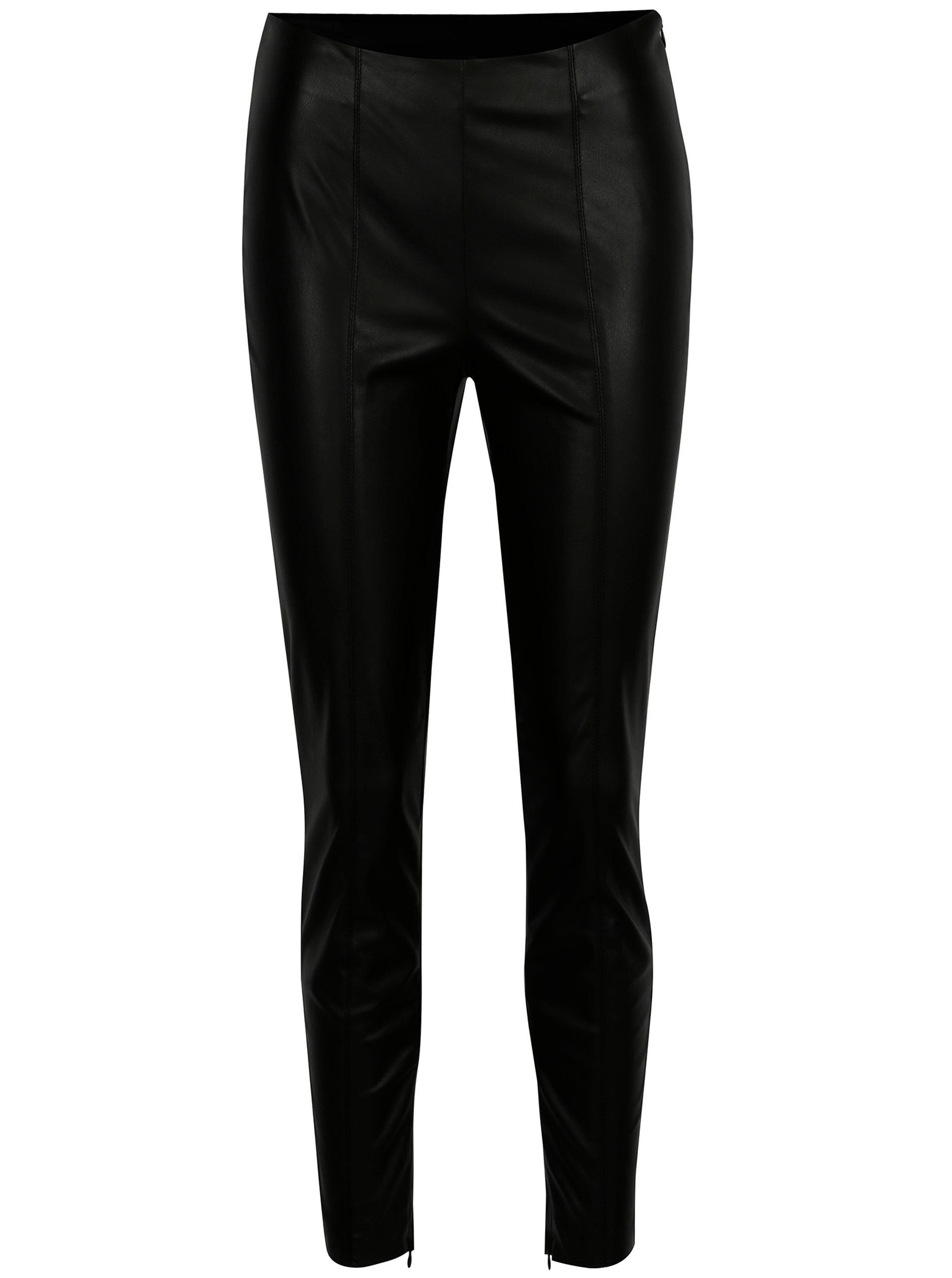 a6b09a90bfc2 Čierne koženkové nohavice s vysokým pásom VILA Pale ...