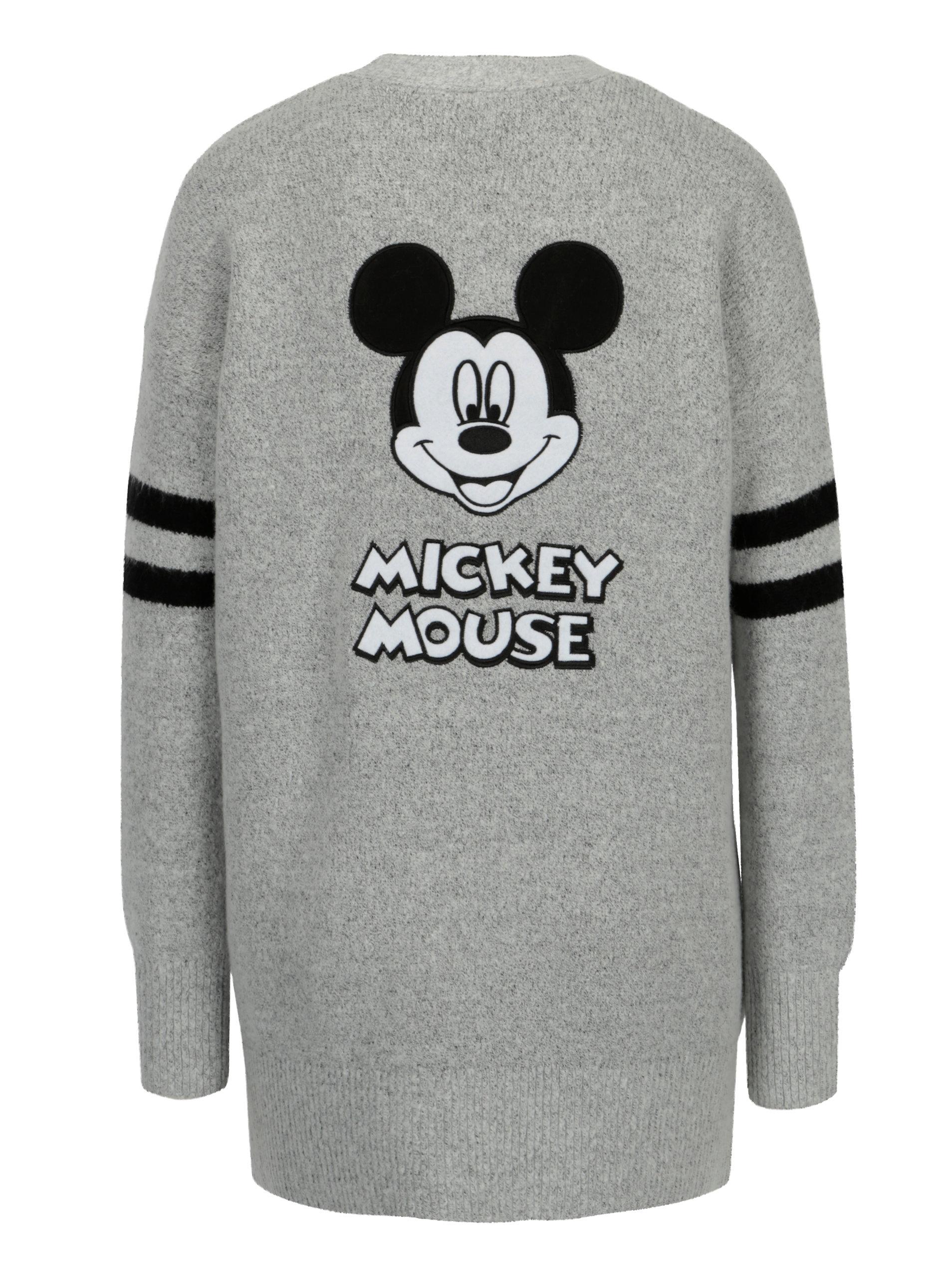 44b7de888ffb Šedý žíhaný kardigan s motivem Mickey Mouse TALLY WEiJL ...