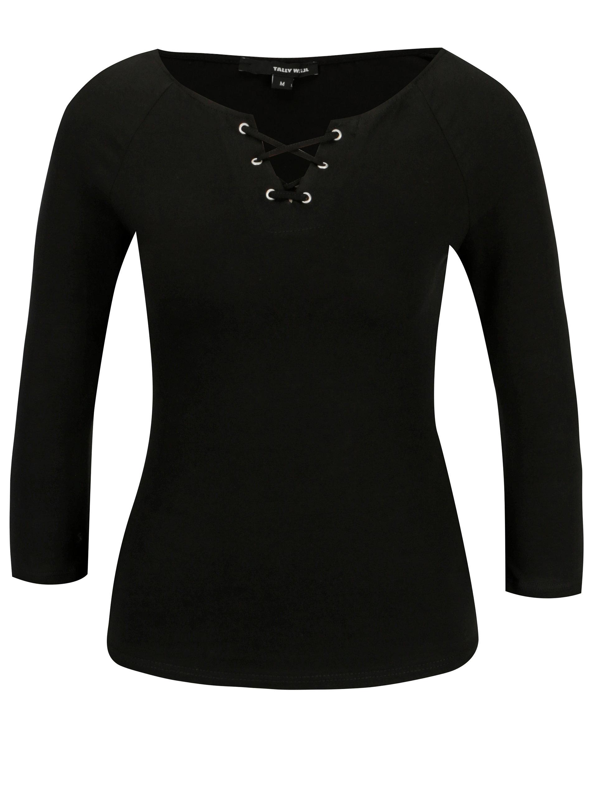 350cc43671 Čierne tričko so šnurovaním TALLY WEiJL ...