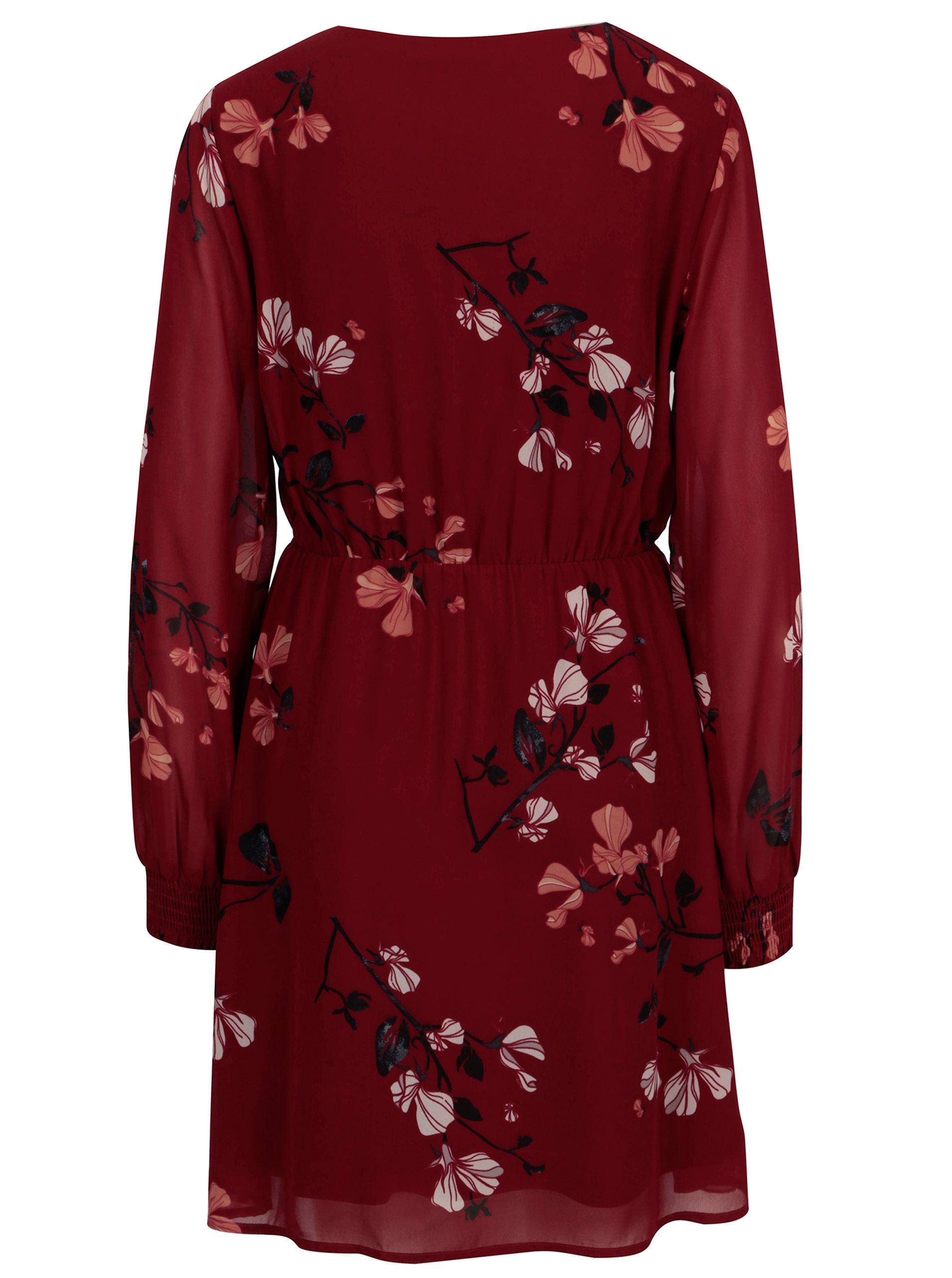 2948c3cd22a6 Vínové kvetované šaty s volánmi VERO MODA Hallie ...