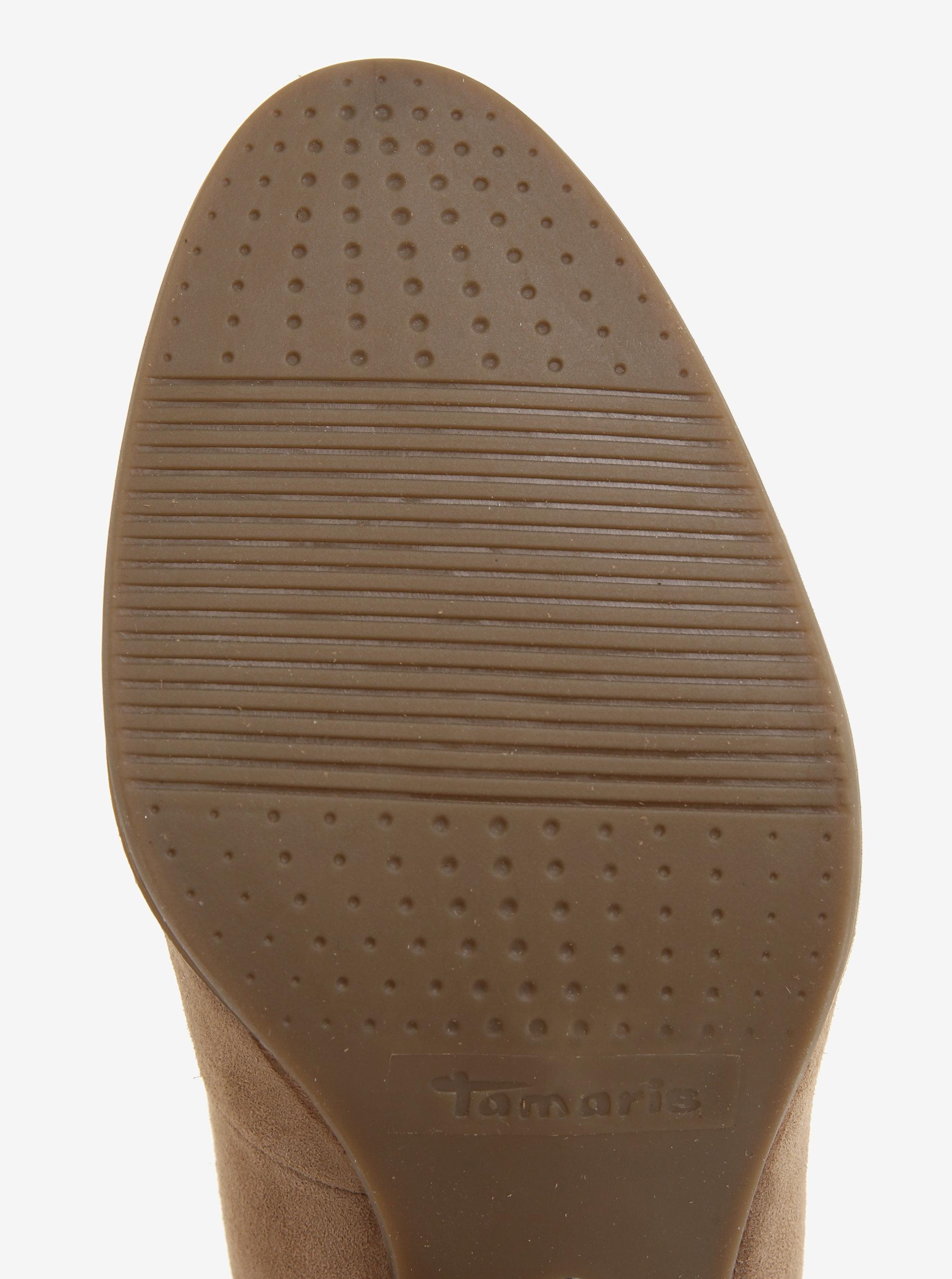 Béžové semišové lodičky Tamaris - Akční cena  ab1b6d089c