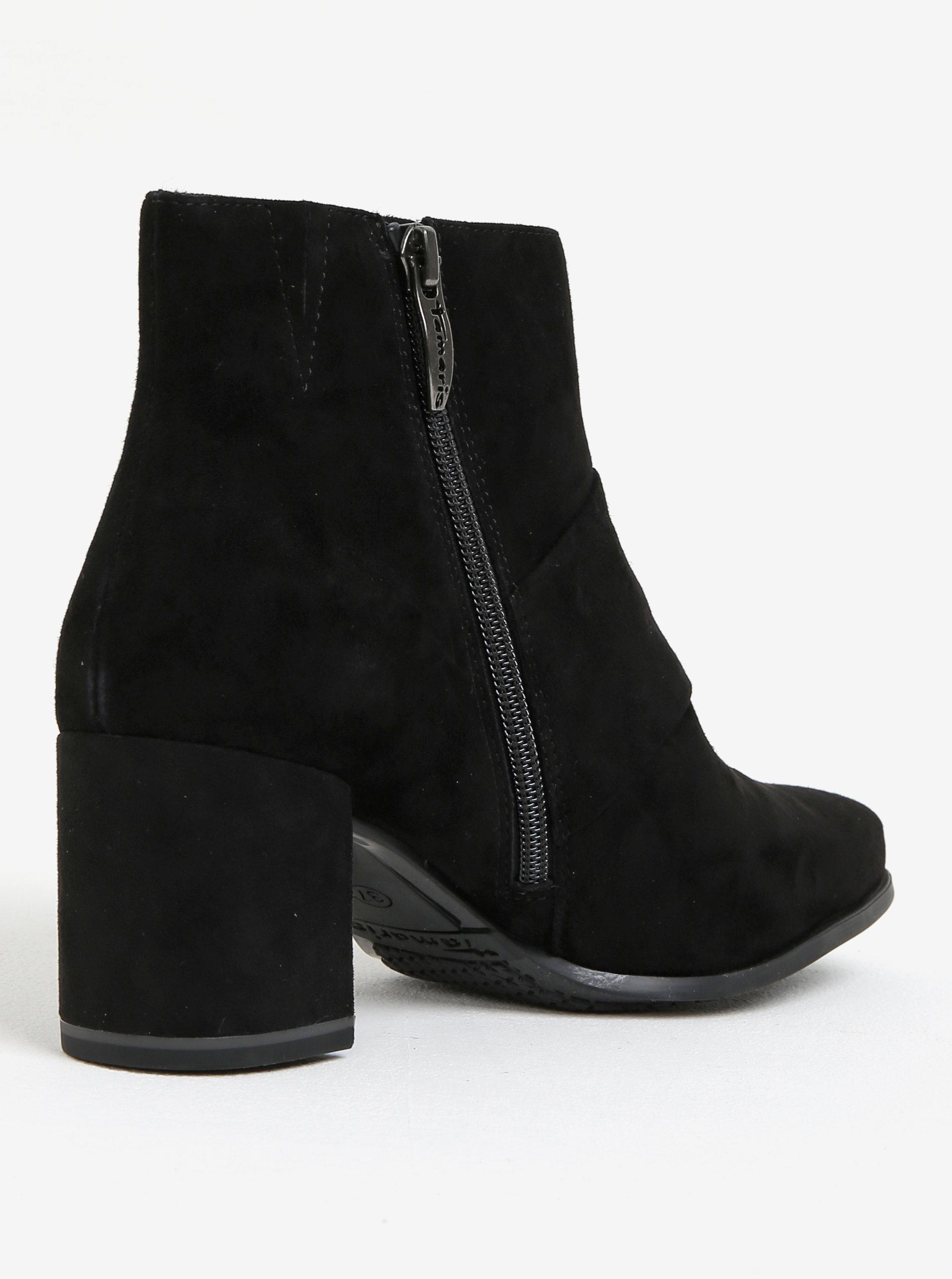 cf27875ac7d3 Čierne semišové členkové topánky s mašľou Tamaris ...