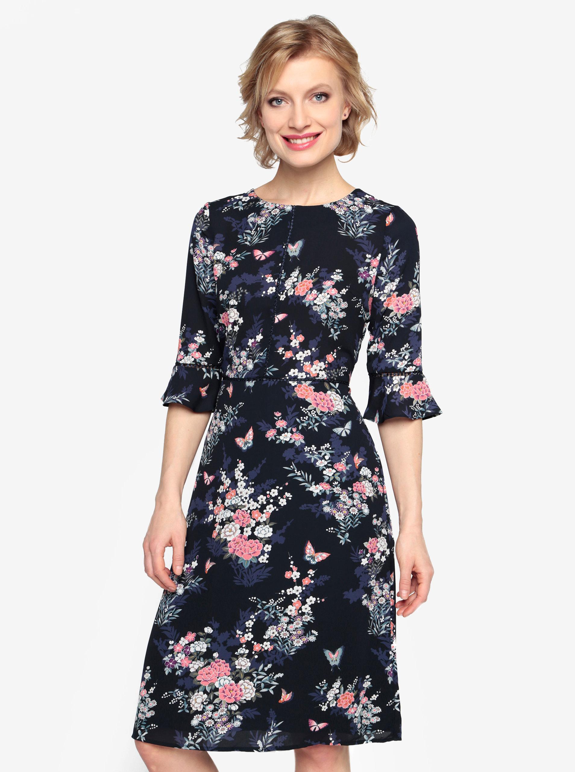 Tmavě modré květované šaty se zvonovým rukávem Oasis Kimono ... 016438927ee