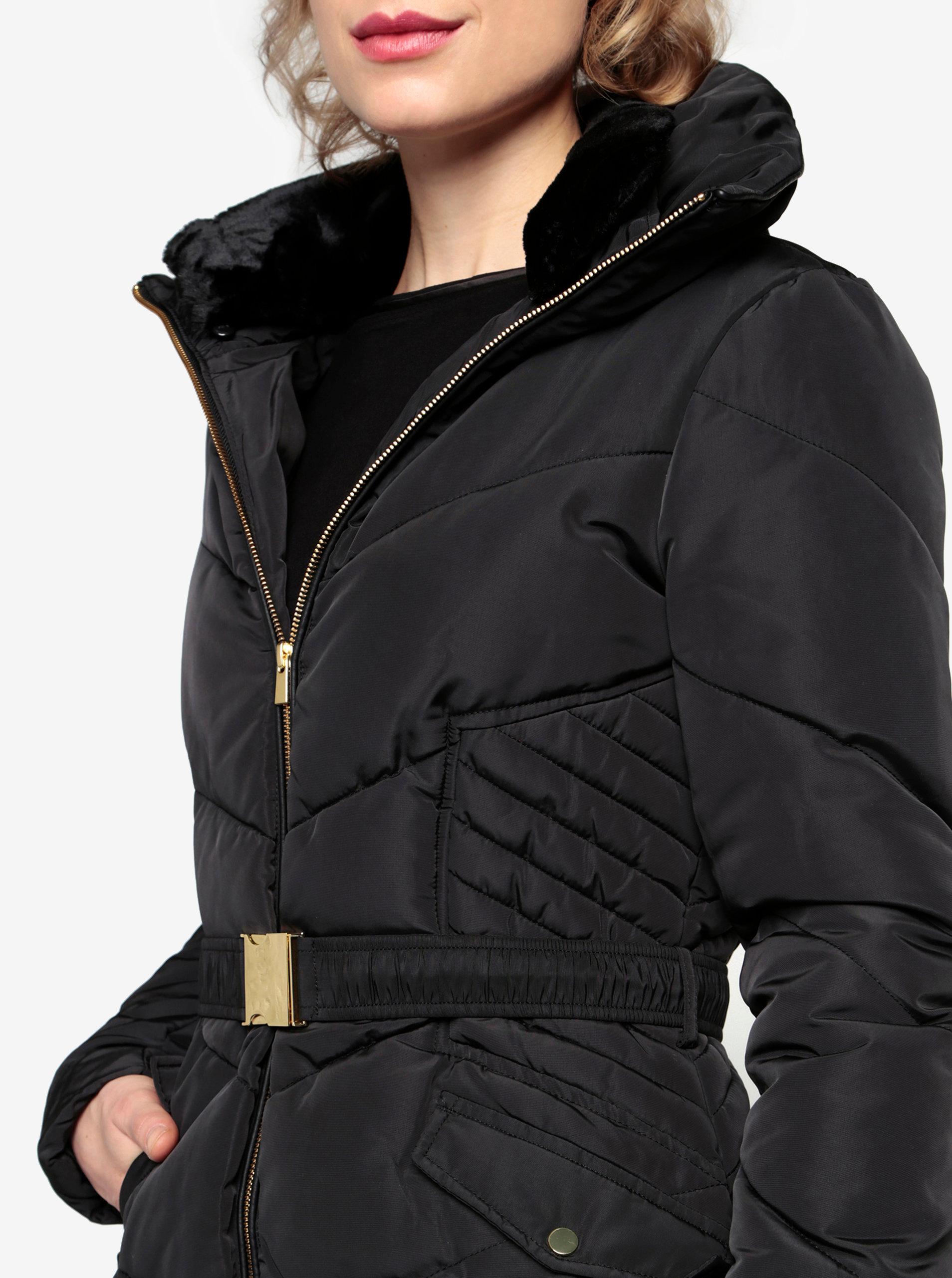 Černý prošívaný zimní kabát s vysokým límcem Oasis Cairnwell ... 12e882de55d