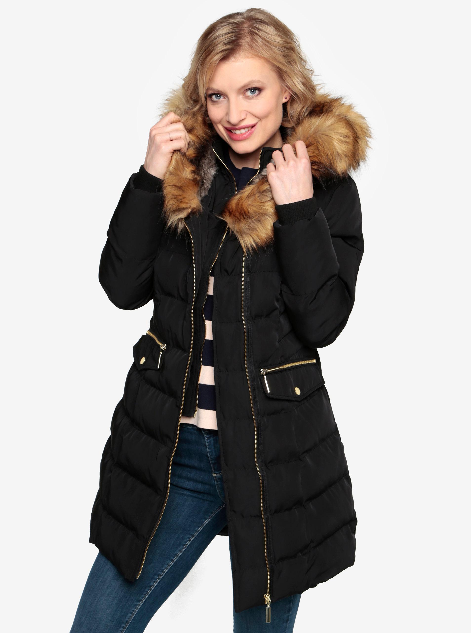 Černý prošívaný zimní kabát s kapucí a umělým kožíškem Oasis Etna ... 39bdddc00a