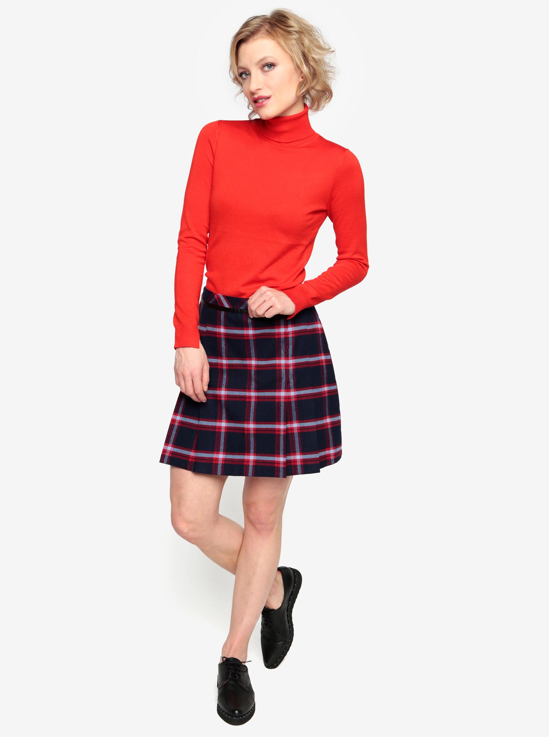 41b6e6749e51 Tmavomodrá károvaná sukňa Oasis Marais ...