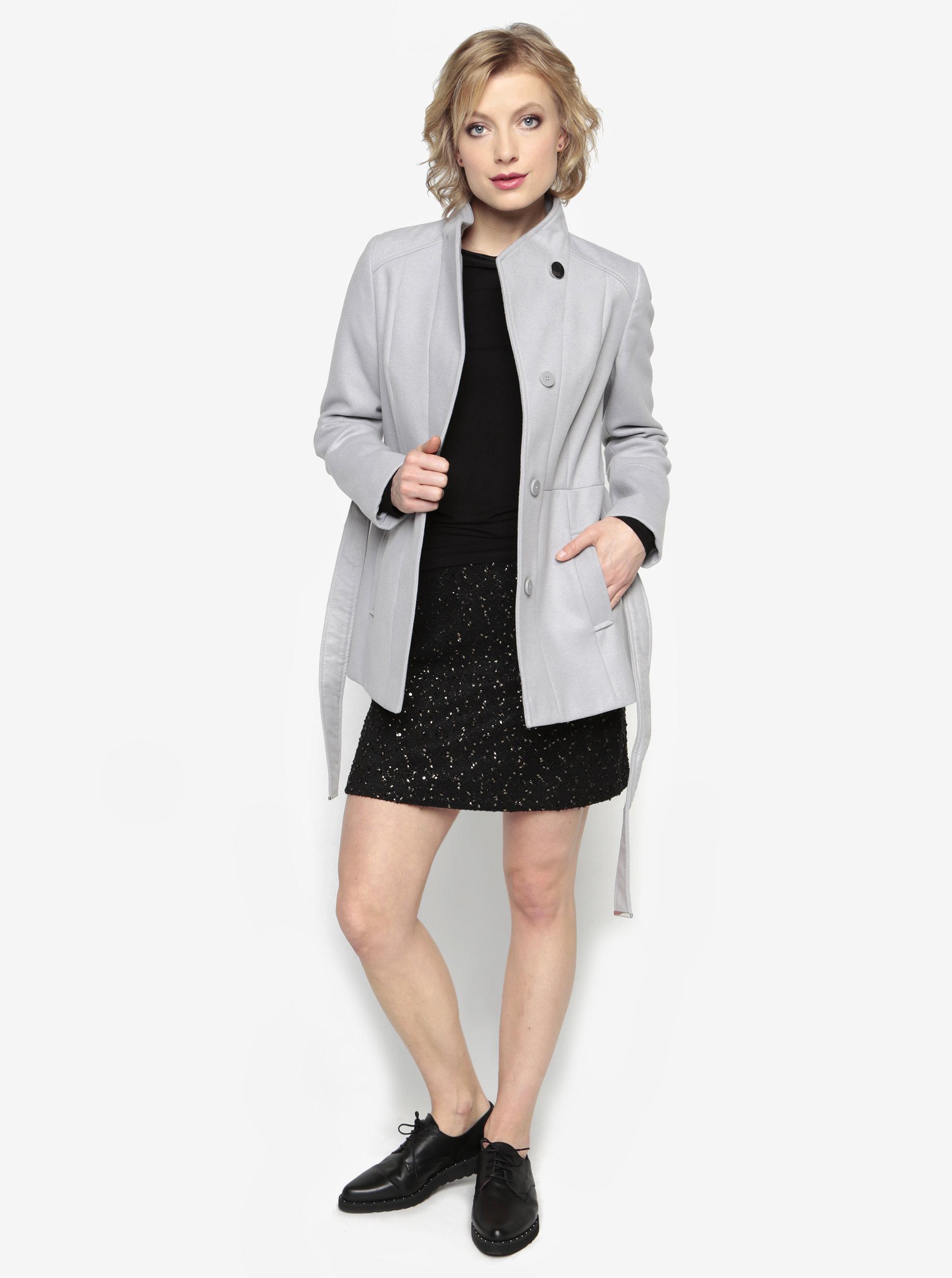 Sivý krátky kabát s opaskom Oasis Leah ... 0a382b70807