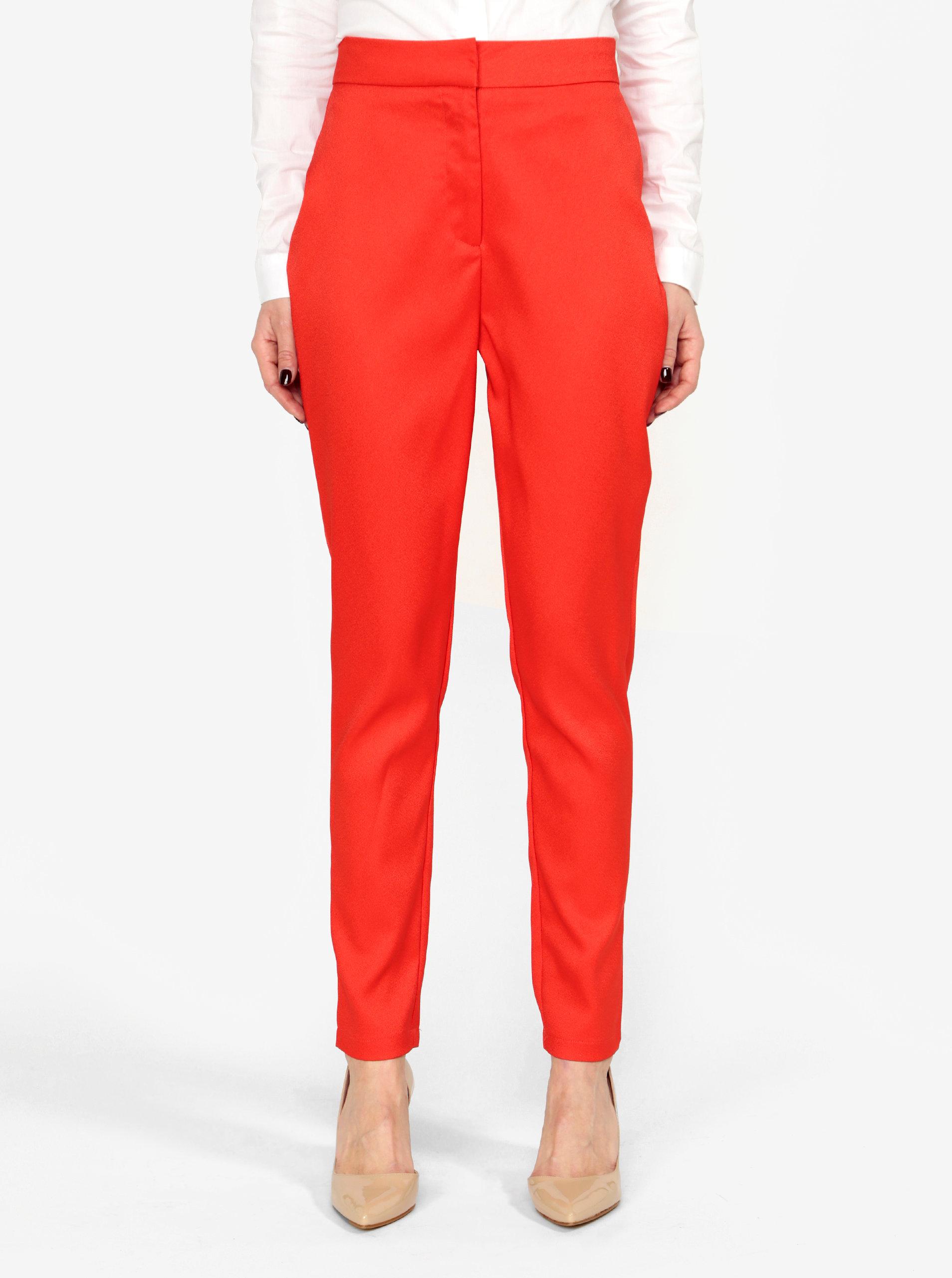 Červené kostýmové kalhoty s vysokým pasem MISSGUIDED ... c72ce46436