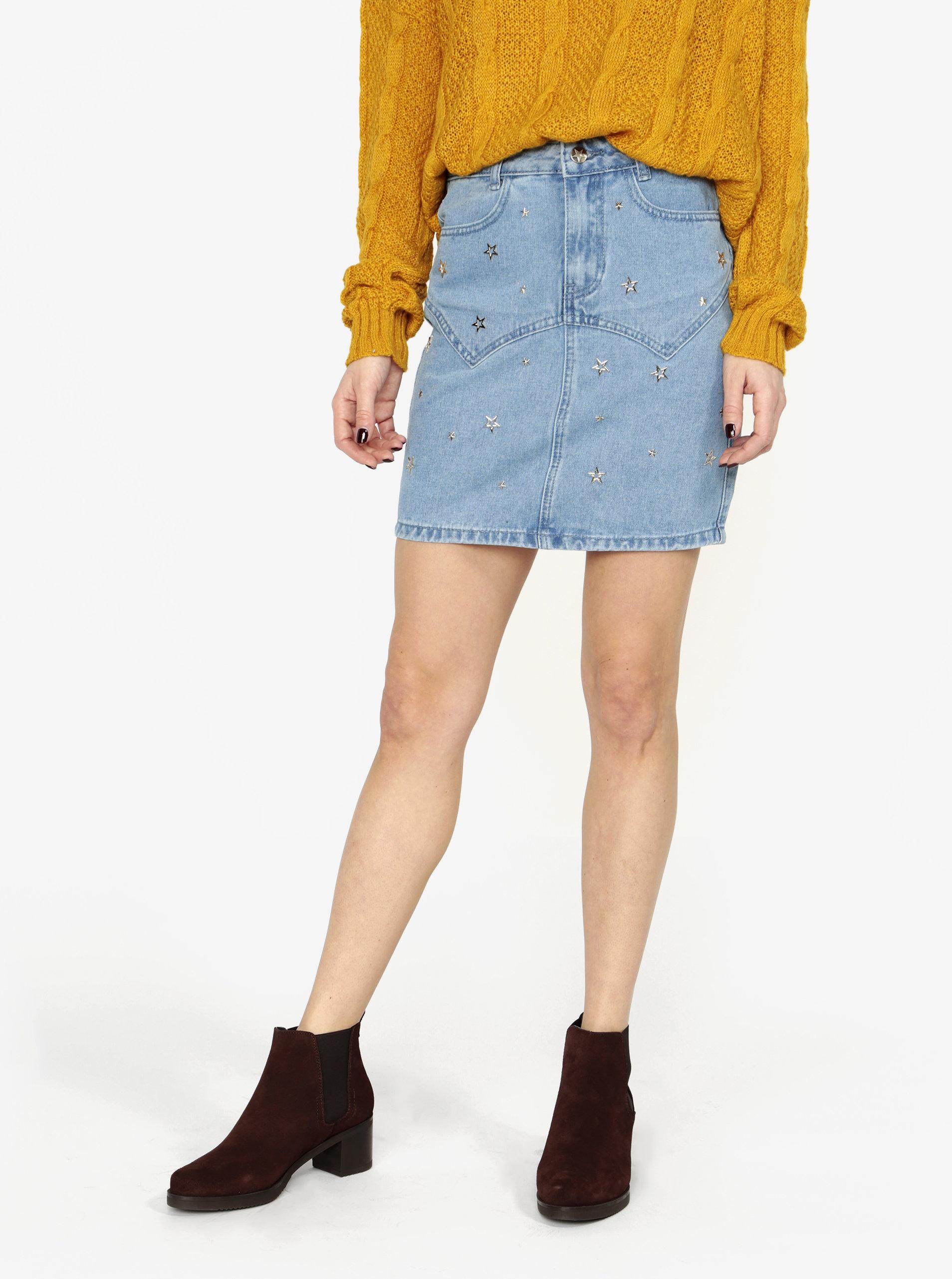 Modrá džínová sukně s aplikací ve tvaru hvězdy MISSGUIDED ... 11b8d72a06
