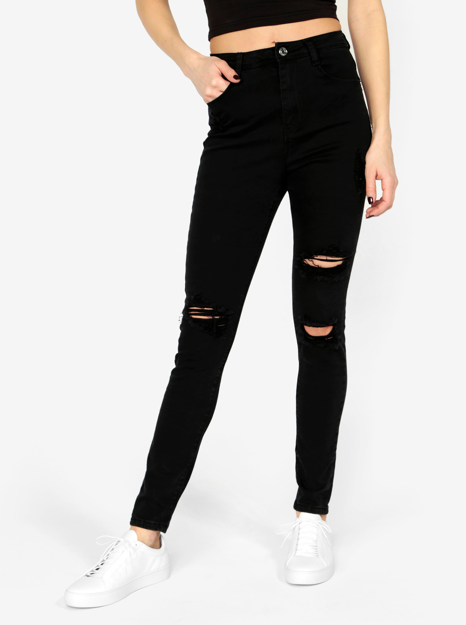 7971b1fca90 Černé skinny džíny s vysokým pasem MISSGUIDED ...