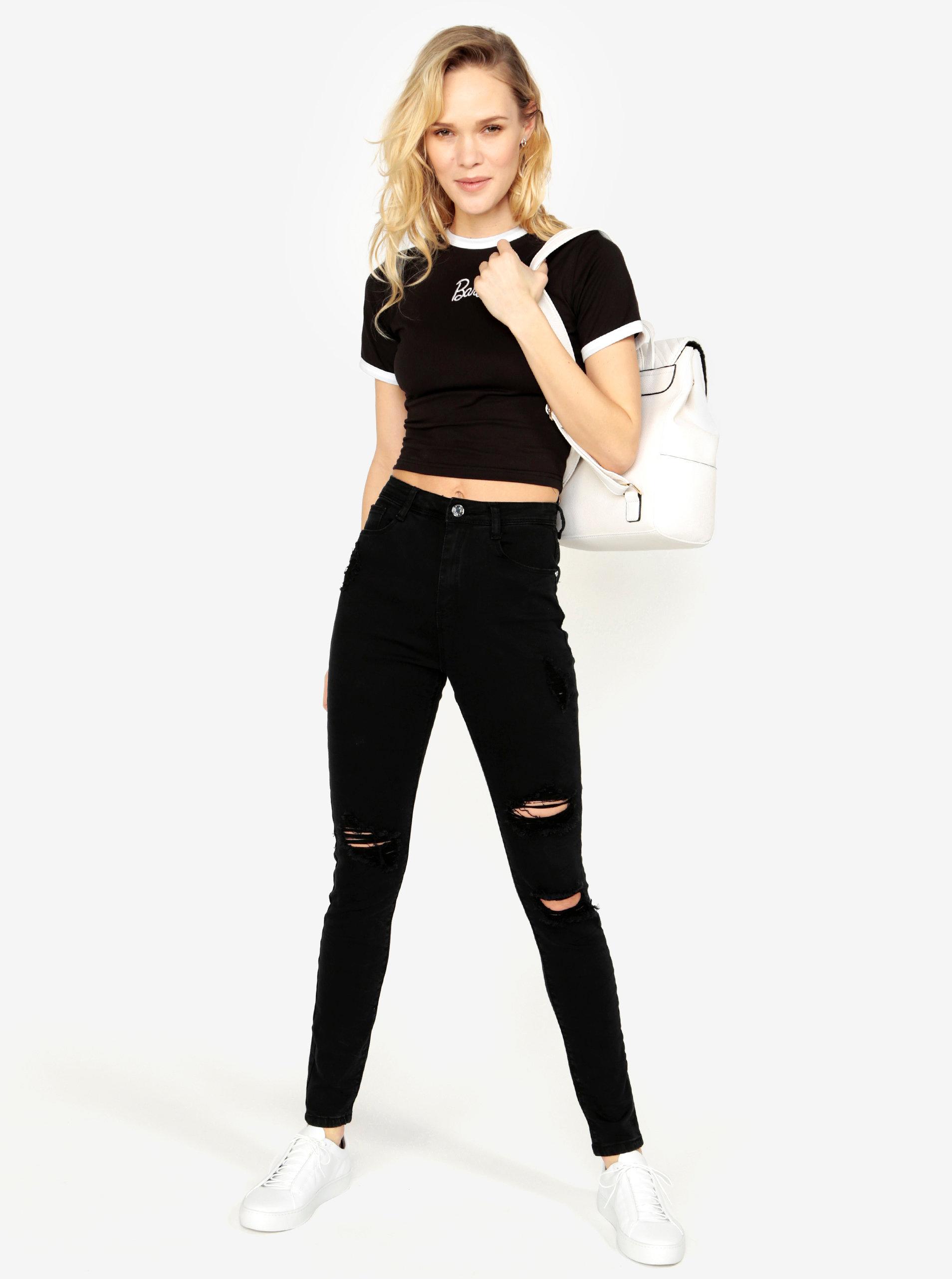 Černé skinny džíny s vysokým pasem MISSGUIDED ... 90ecbc31a0