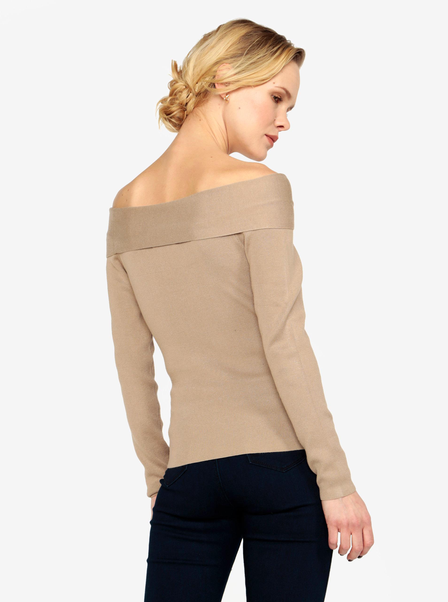 Béžový svetr s odhalenými rameny MISSGUIDED ... 47bf010d69