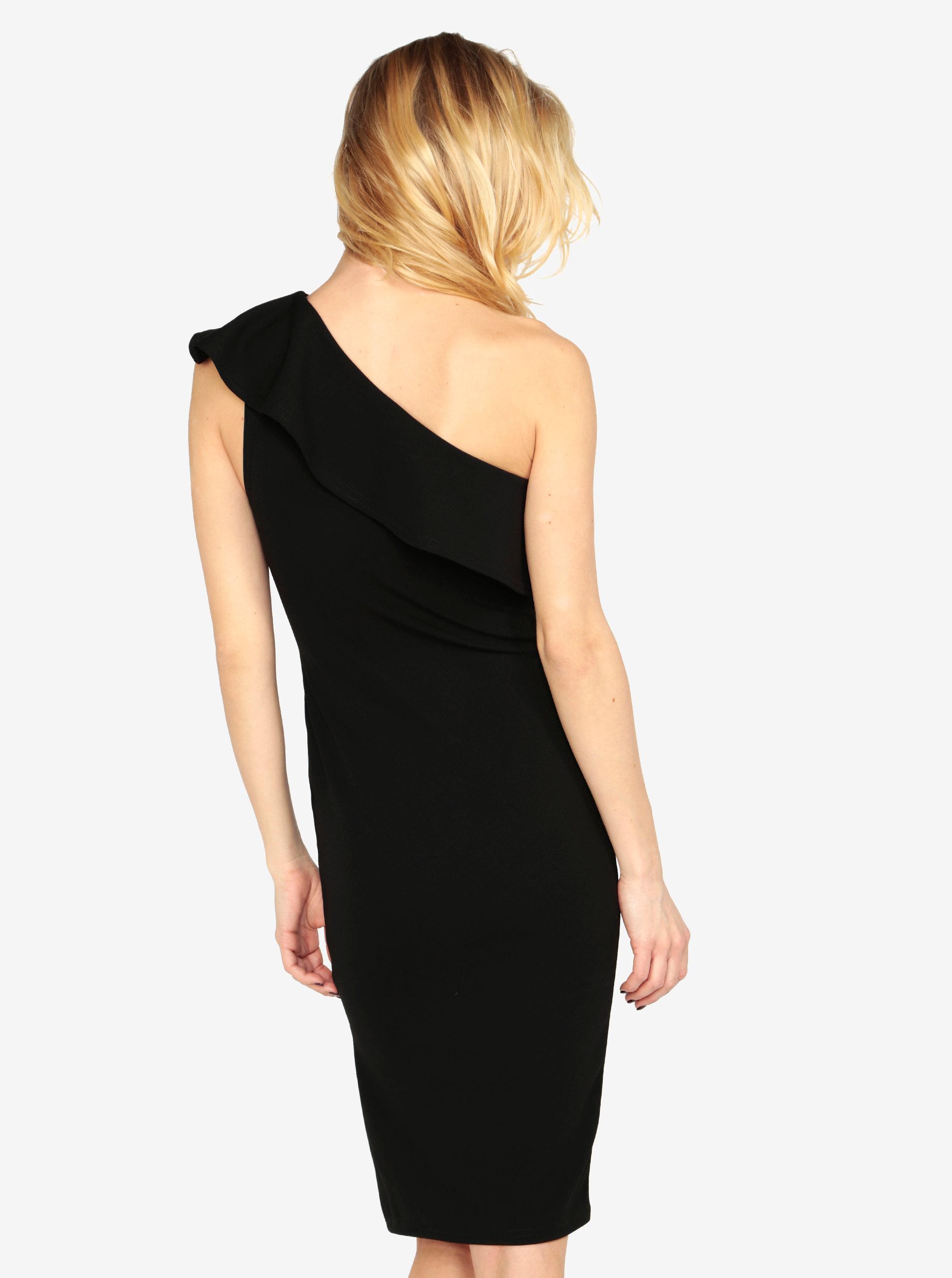 c2aa8c29504 Černé pouzdrové asymetrické šaty s volánem MISSGUIDED ...