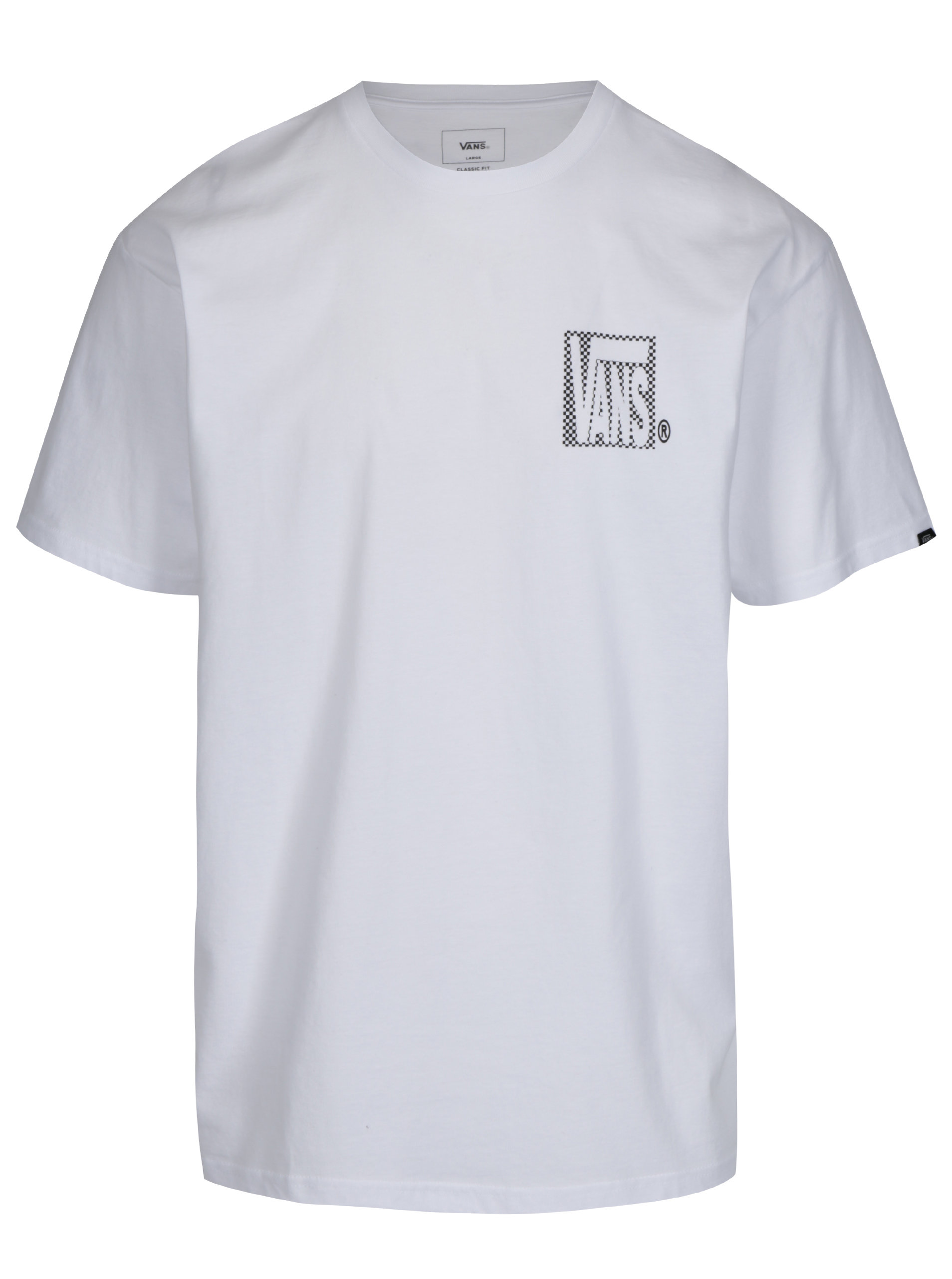 Biele pánske tričko s potlačou VANS New Checker ... 08140294ea0