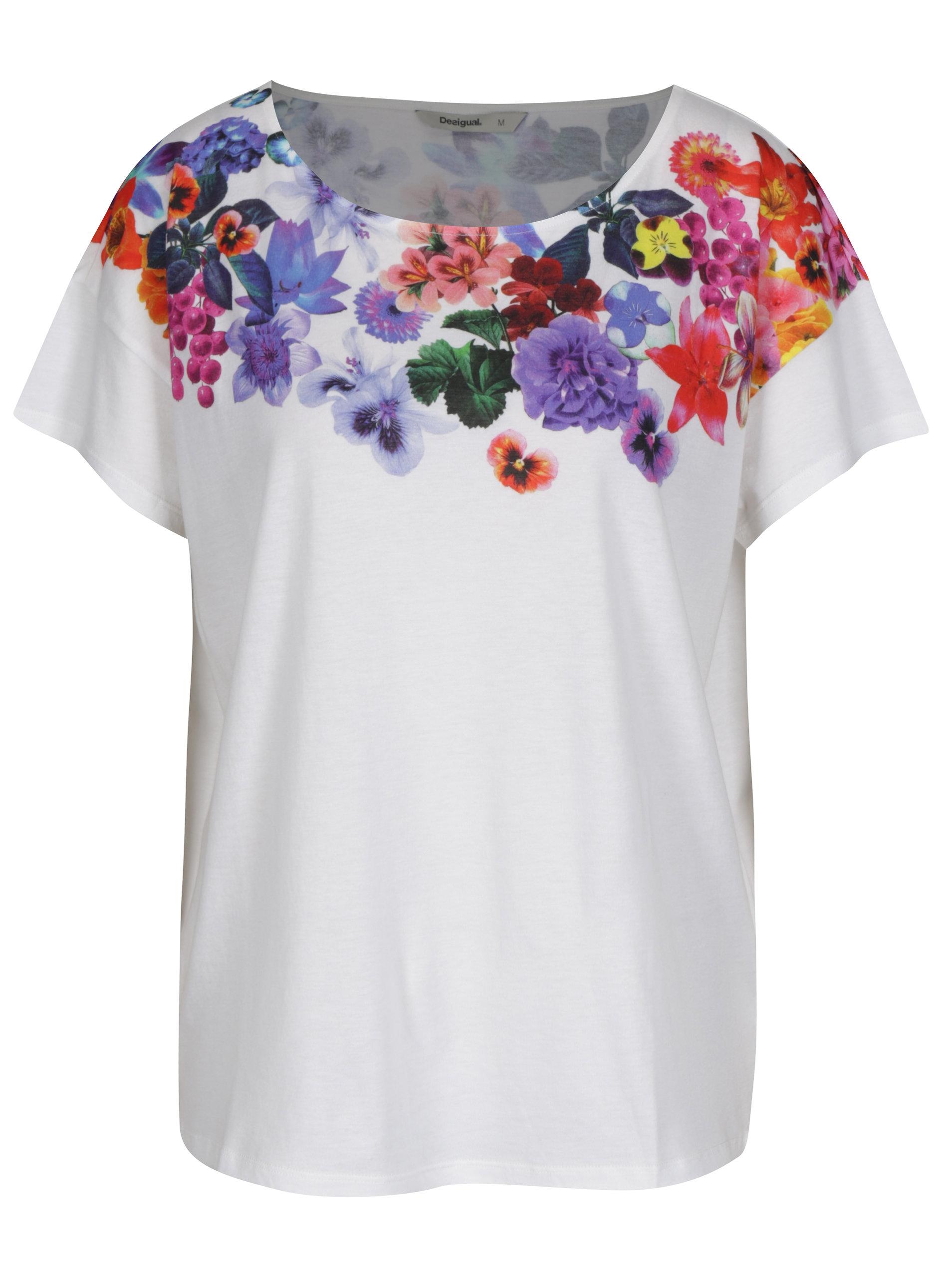 64cbf69f7c16 Biele voľné tričko s potlačou Desigual Aglaia ...