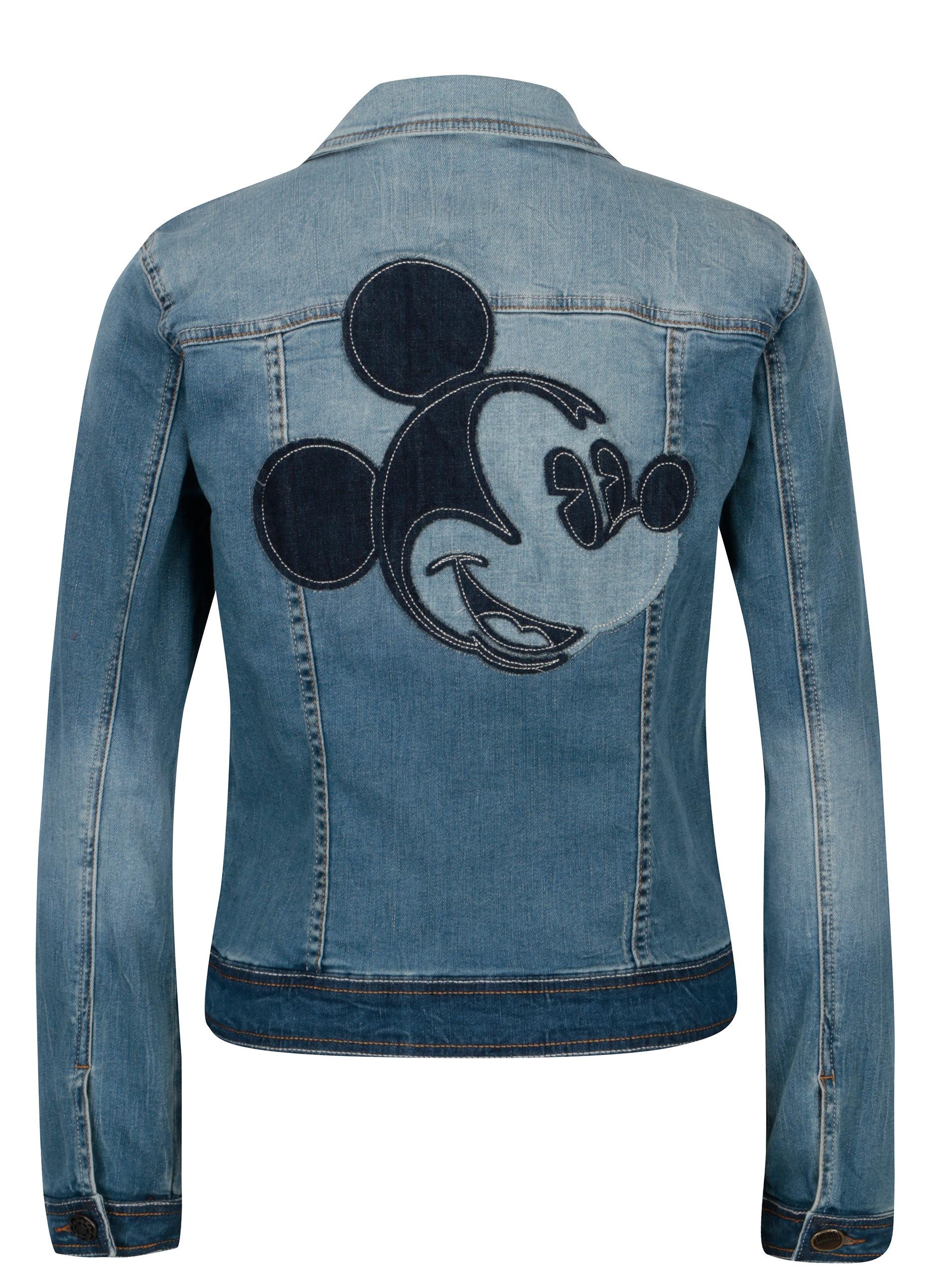 Modrá džínová bunda s nášivkou na zádech Desigual Maria Goeppert ... b8f85a59c7b