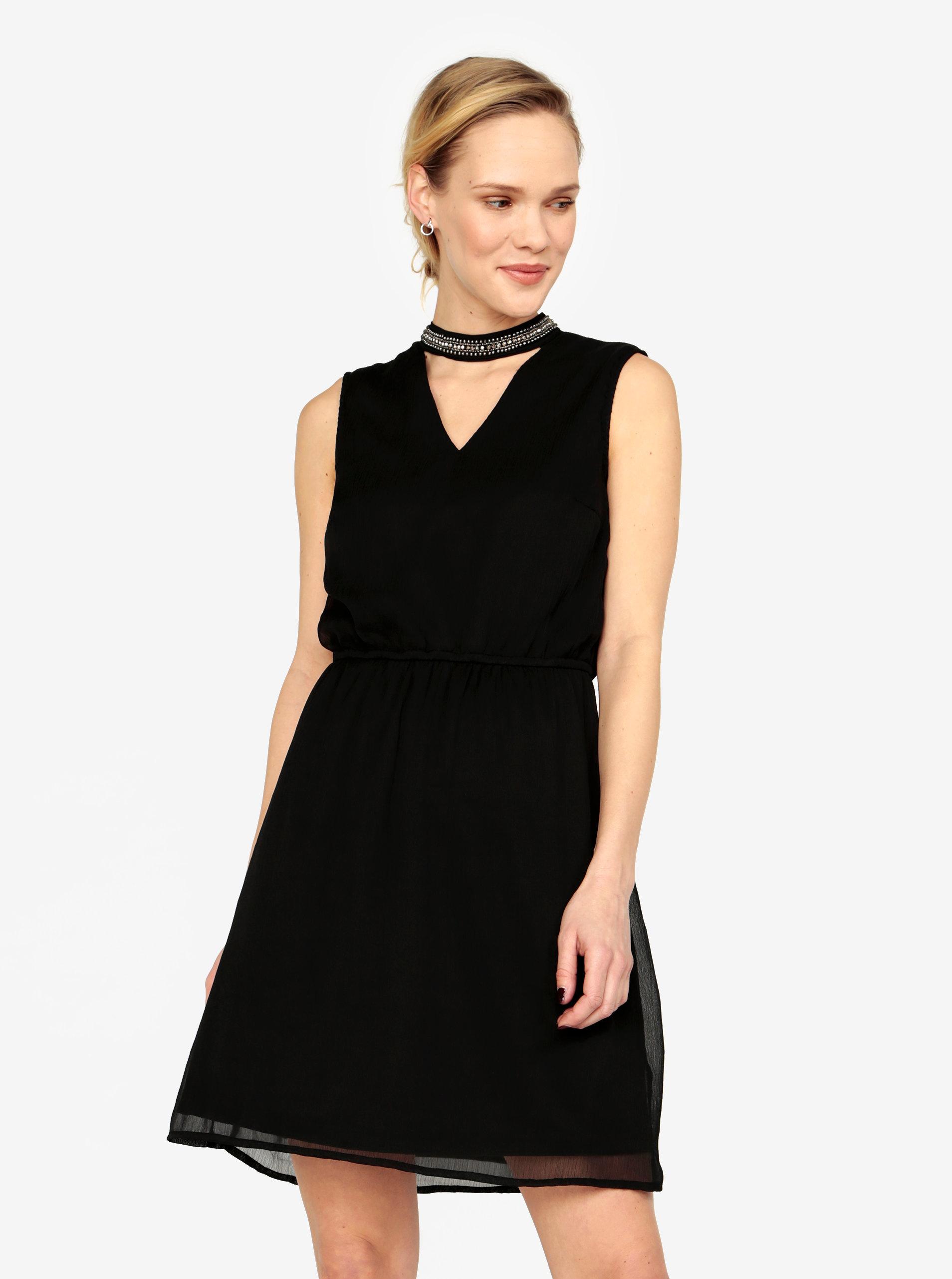 Černé šaty s korálkovou aplikací ONLY Dafne ... 659a4a551a