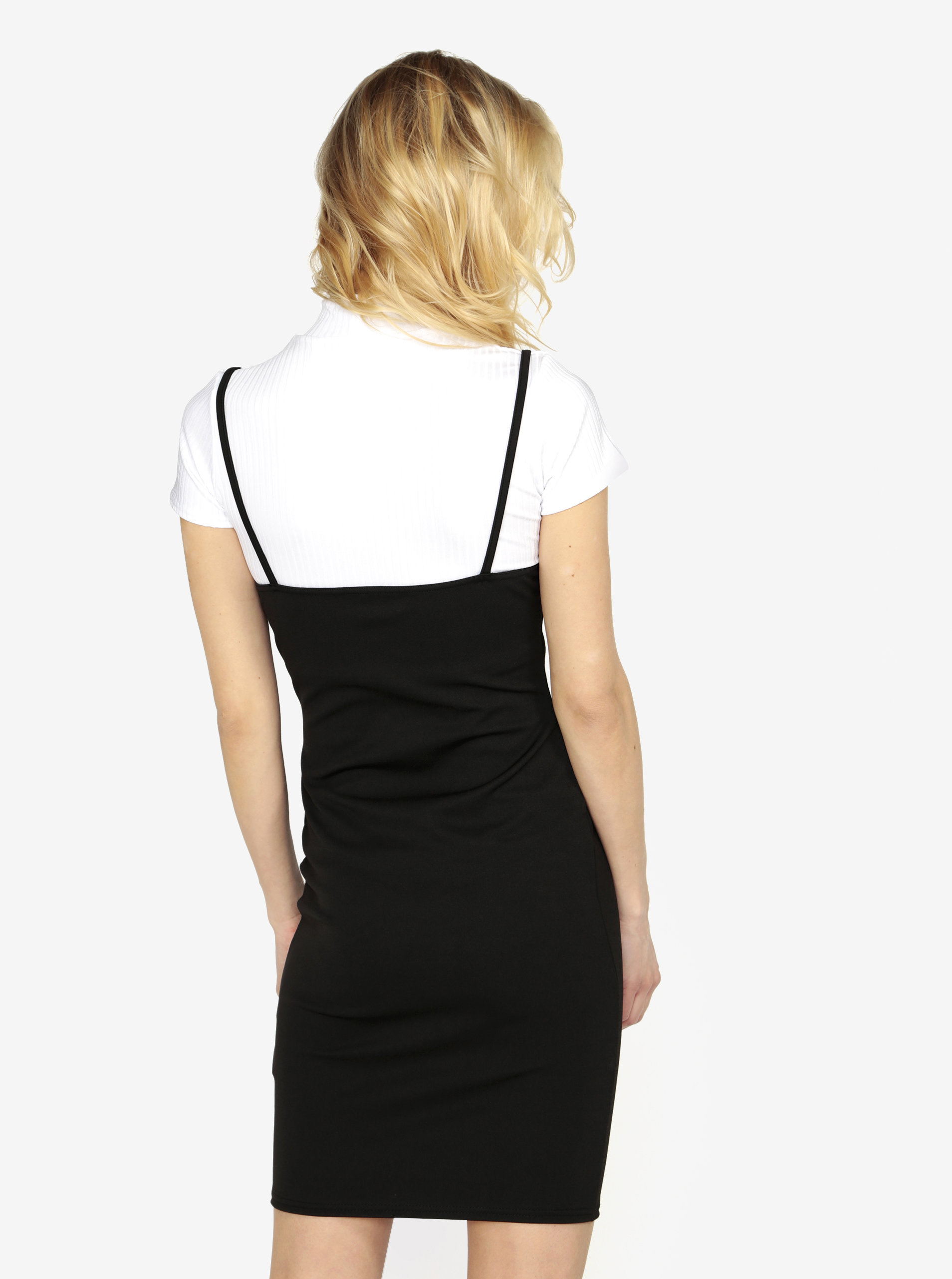 Černé šaty s žebrovaným crop topem 2v1 MISSGUIDED Barbie ... a1c5607898