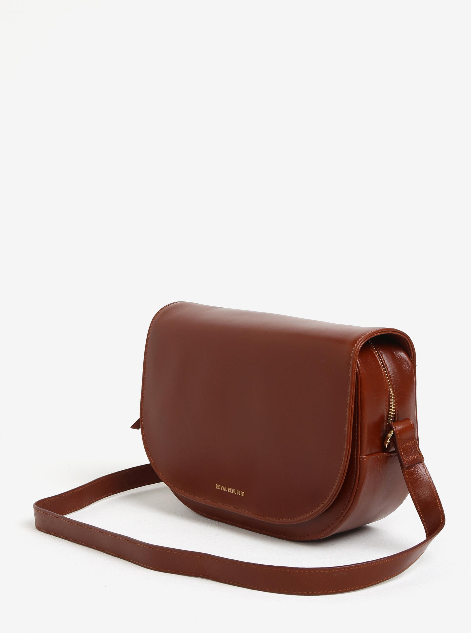 Hnědá velká kožená crossbody kabelka Royal RepubliQ Raf Curve ... aa82709c898