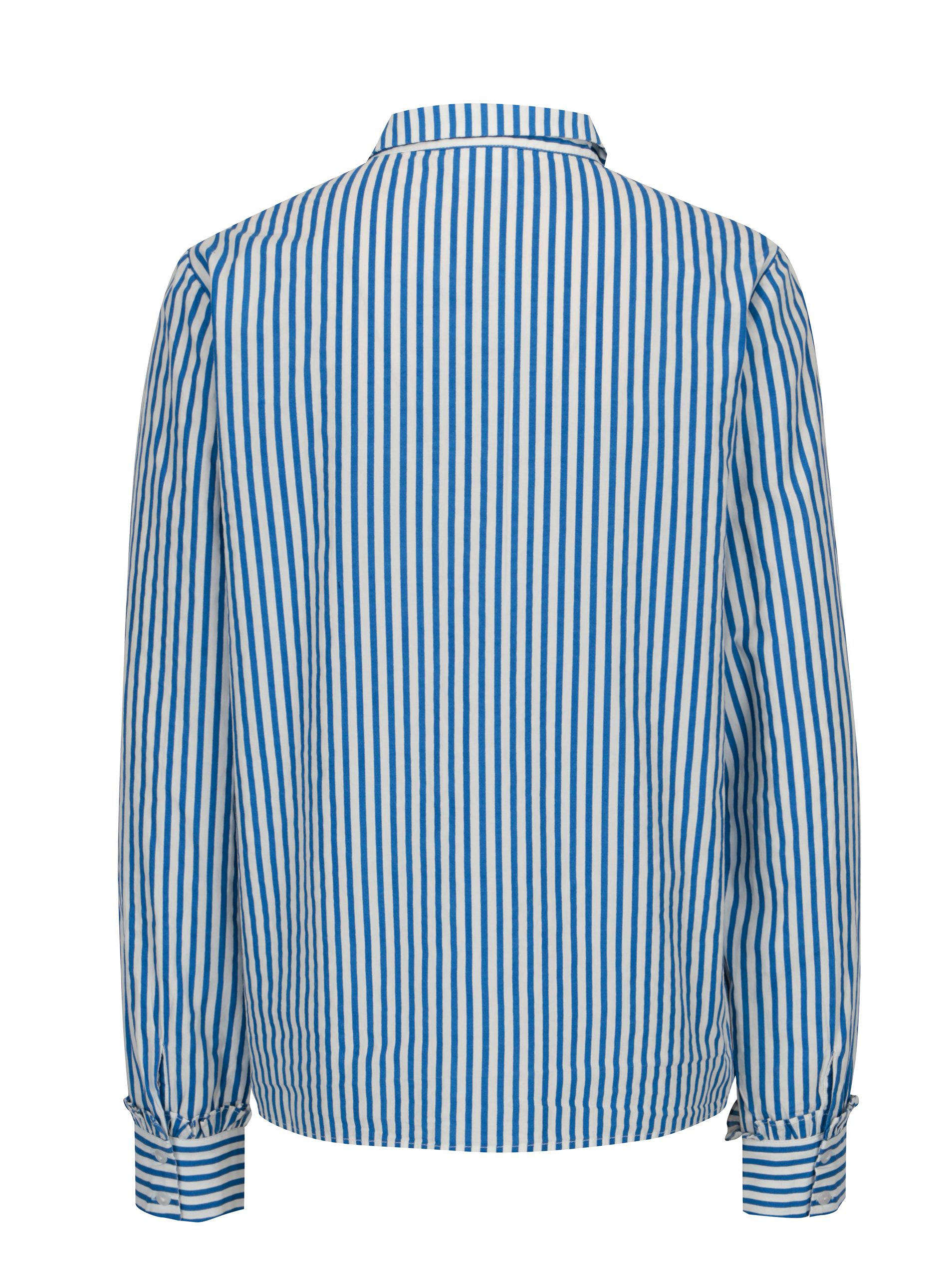 9c82a93a3945 Modro-biela pruhovaná košeľa s vreckom VILA Melava ...