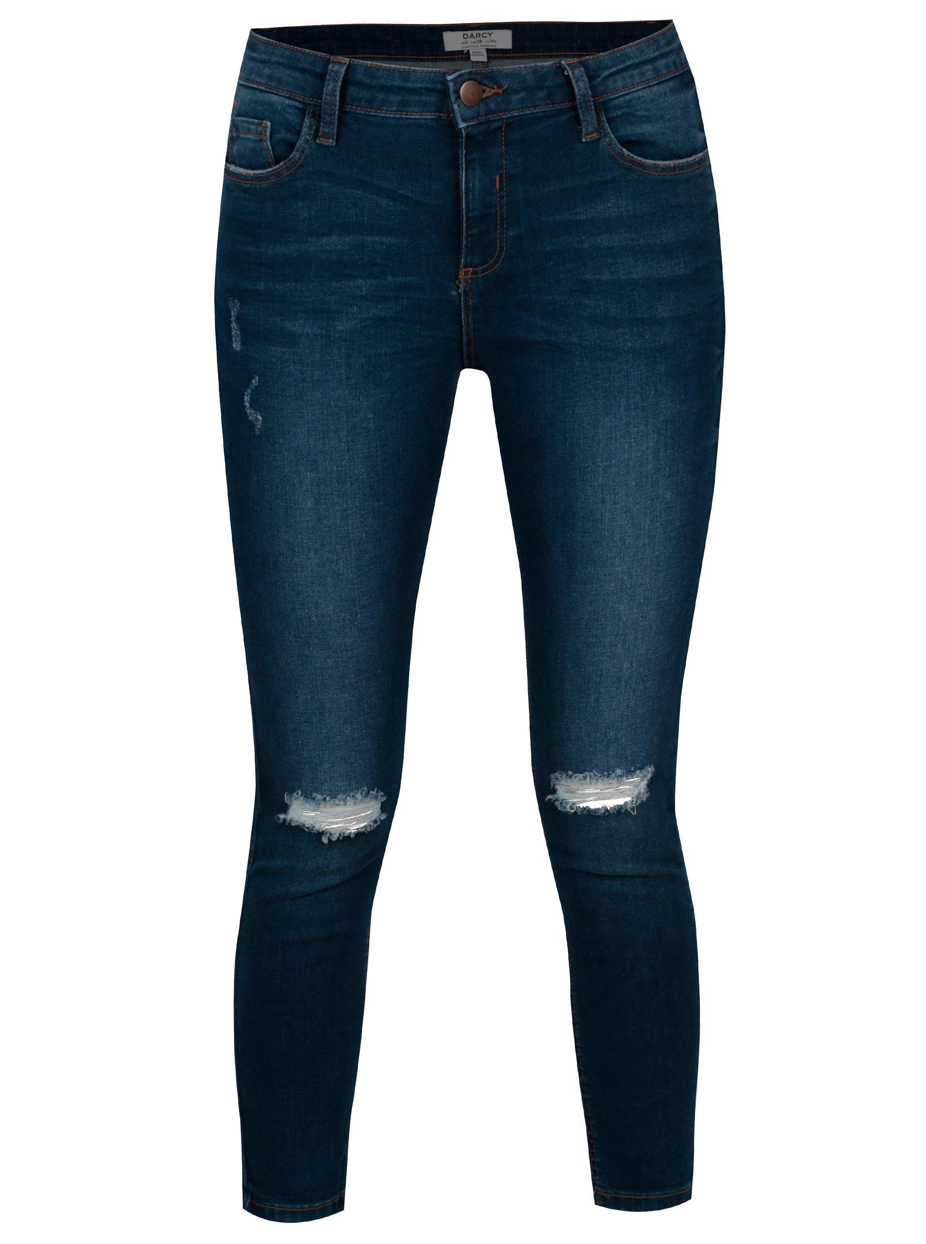 e2e94dffefc4 Tmavě modré skinny džíny s potrhaným efektem Dorothy Perkins Darcy ...