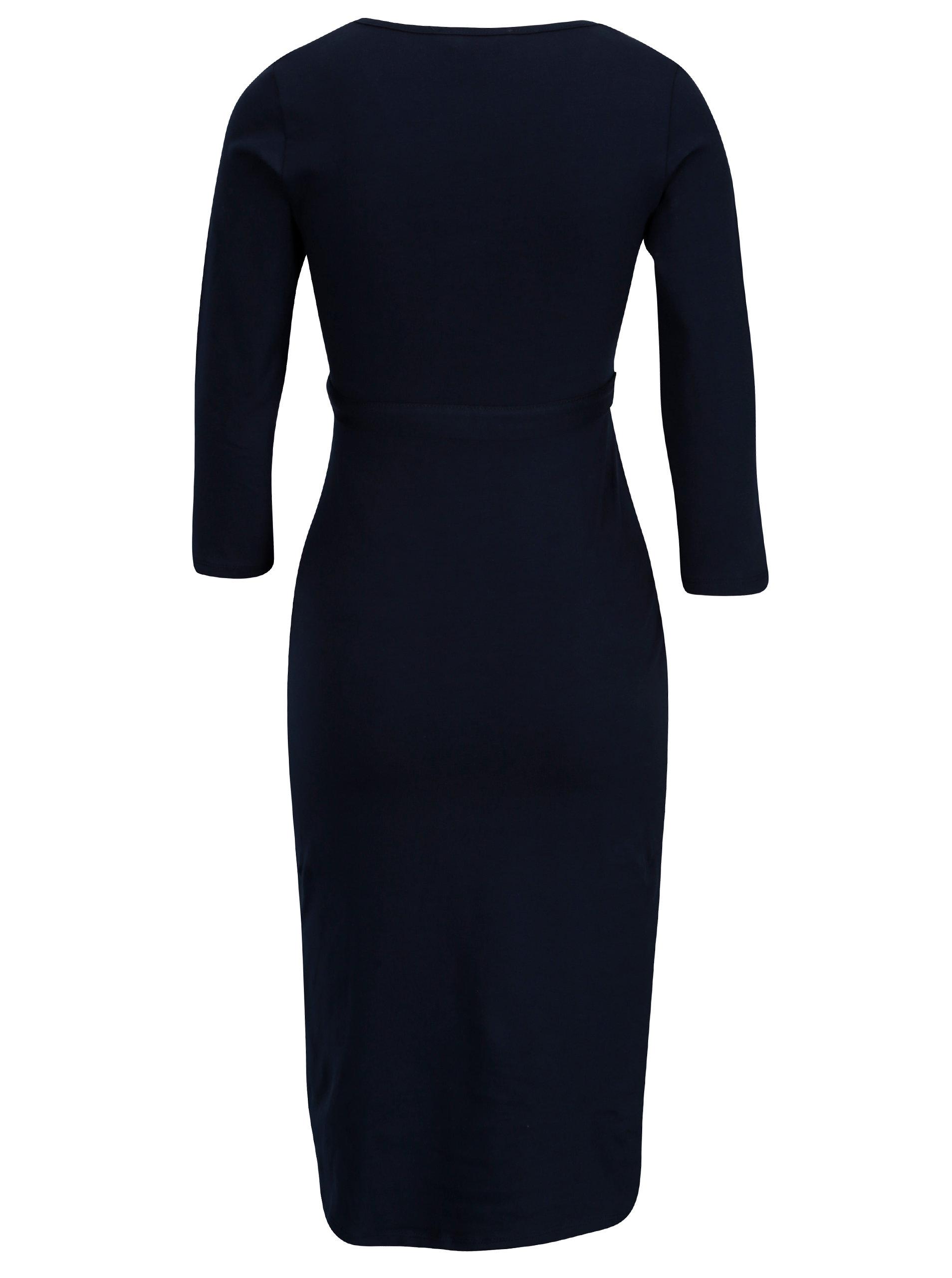 2d8ef1e7edcc Tmavomodré tehotenské šaty s 3 4 rukávom Dorothy Perkins Maternity ...
