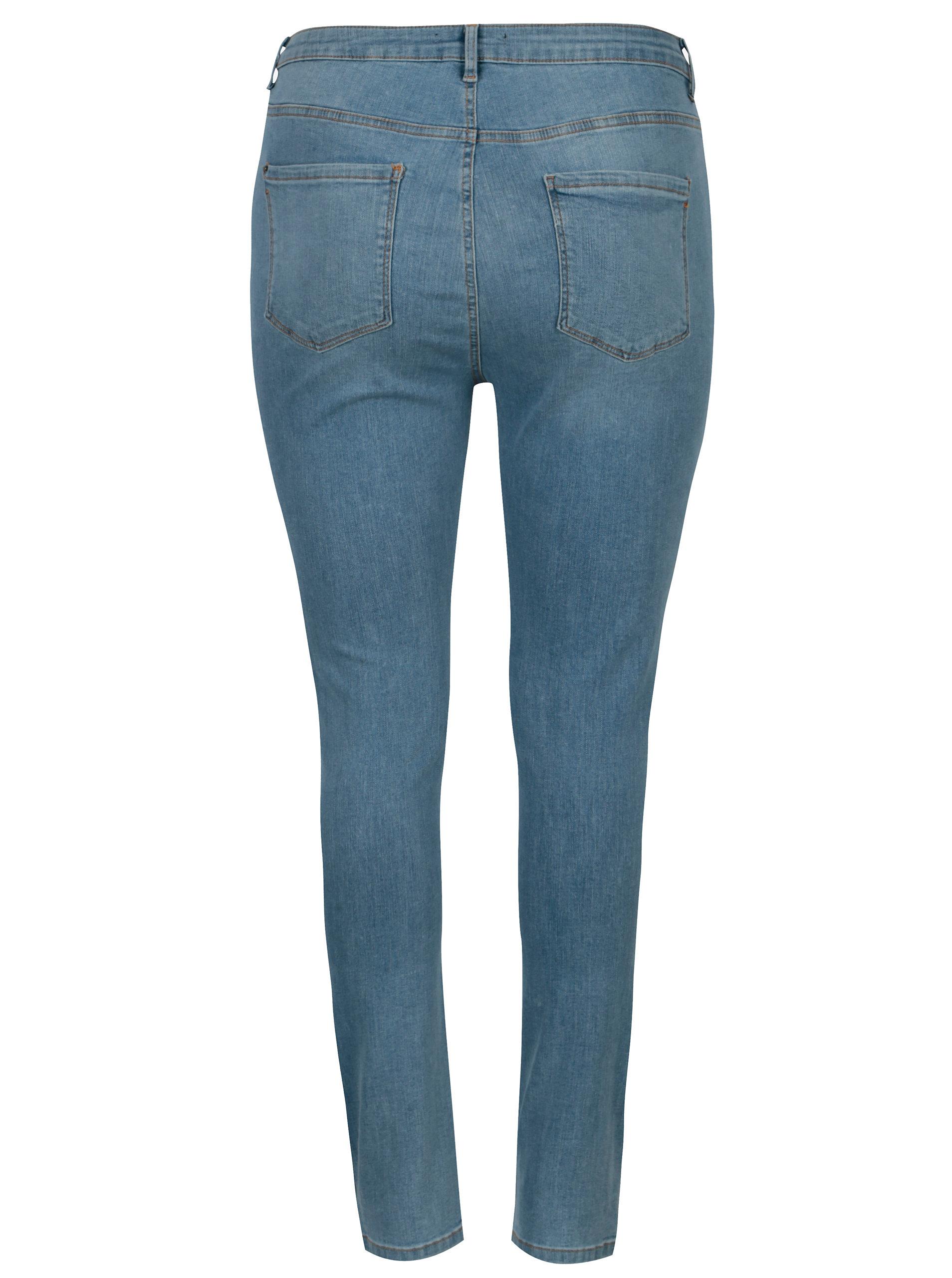 Světle modré džíny s potrhaným efektem Dorothy Perkins Curve ... fc81c300ab