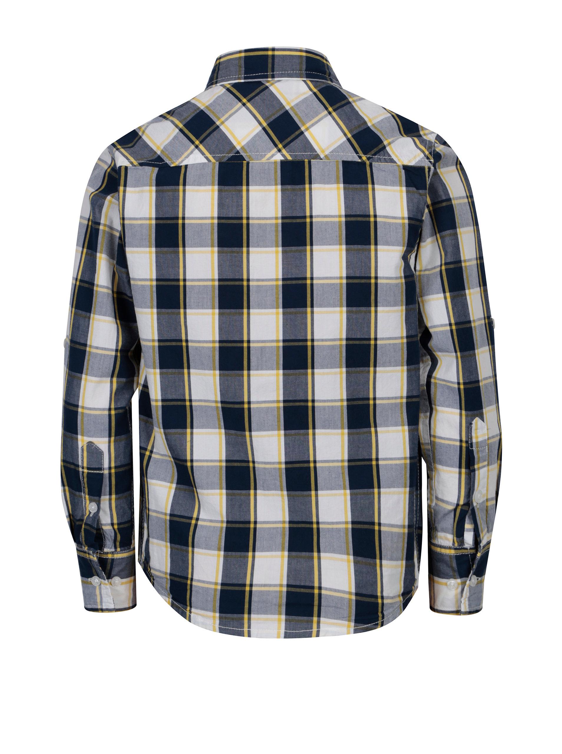 d75333f2e08e Modrá chlapčenská károvaná košeľa s dlhým rukávom 5.10.15.