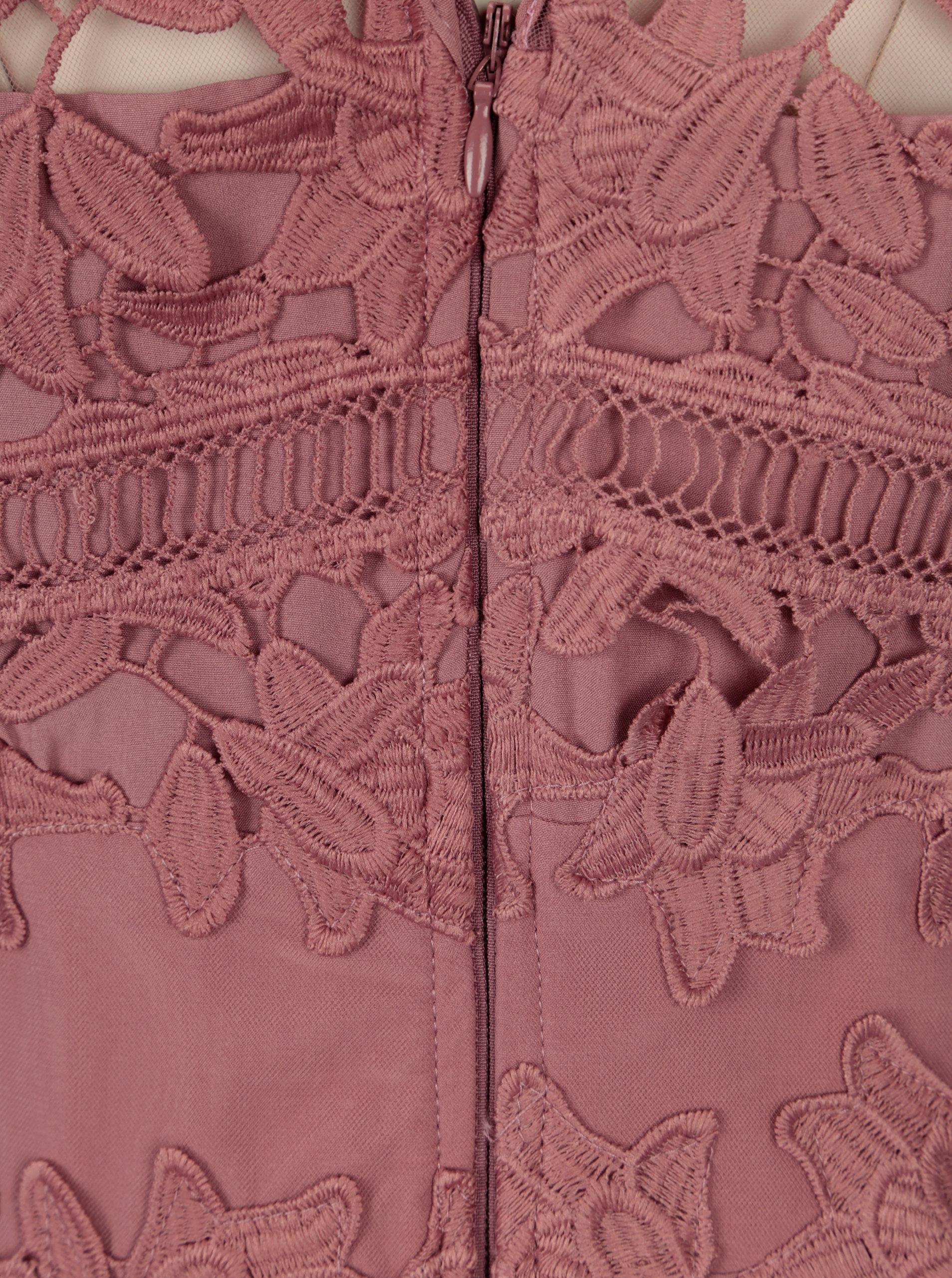 4b3cd077a337 Růžové krajkové šaty bez rukávů Little Mistress ...