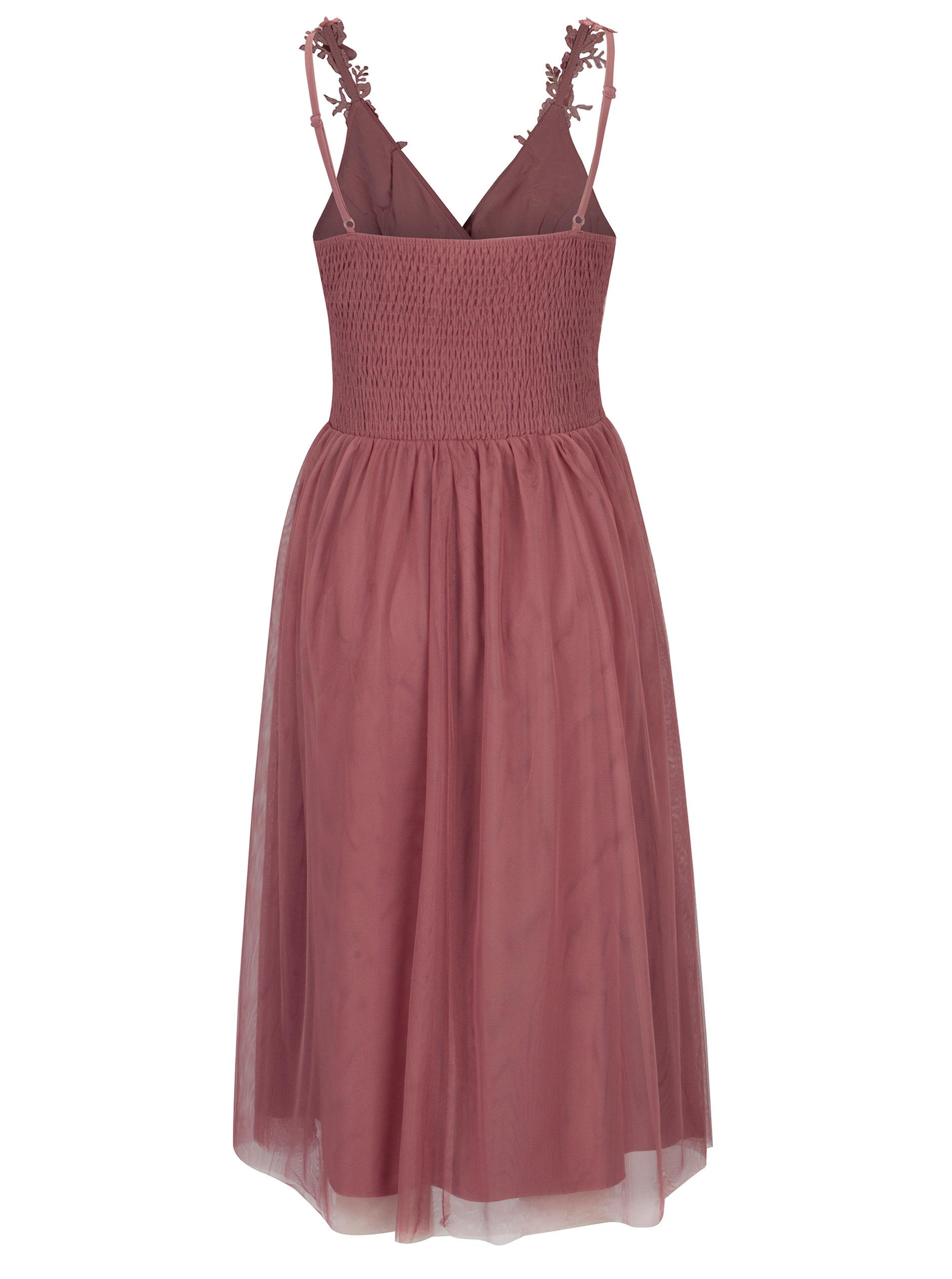 2bc489dd63f Růžové šaty s překládaným výstřihem Little Mistress ...
