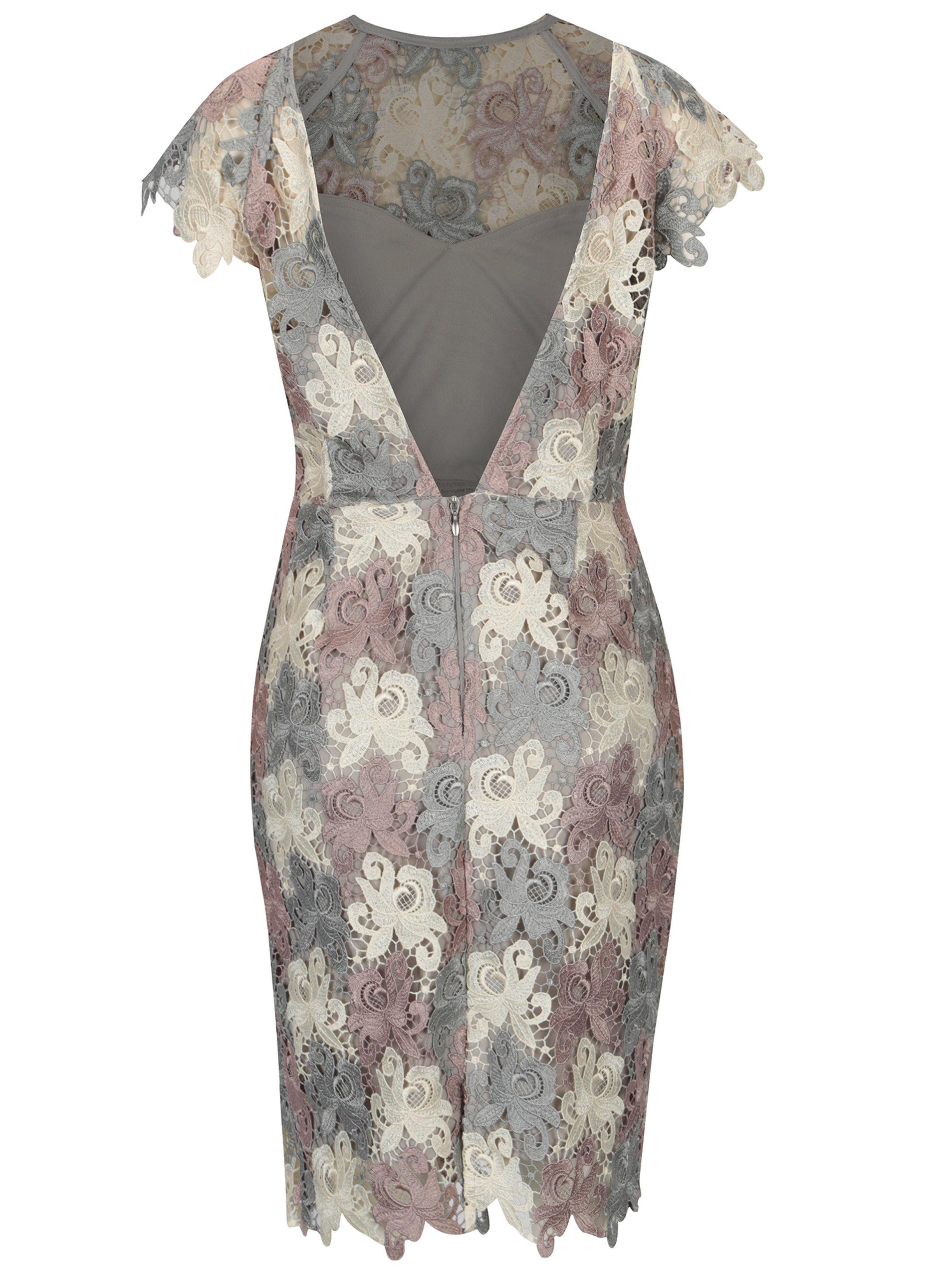 562df1d1abe0 Krémovo–sivé čipkované šaty s výstrihom na chrbte Paper Dolls ...