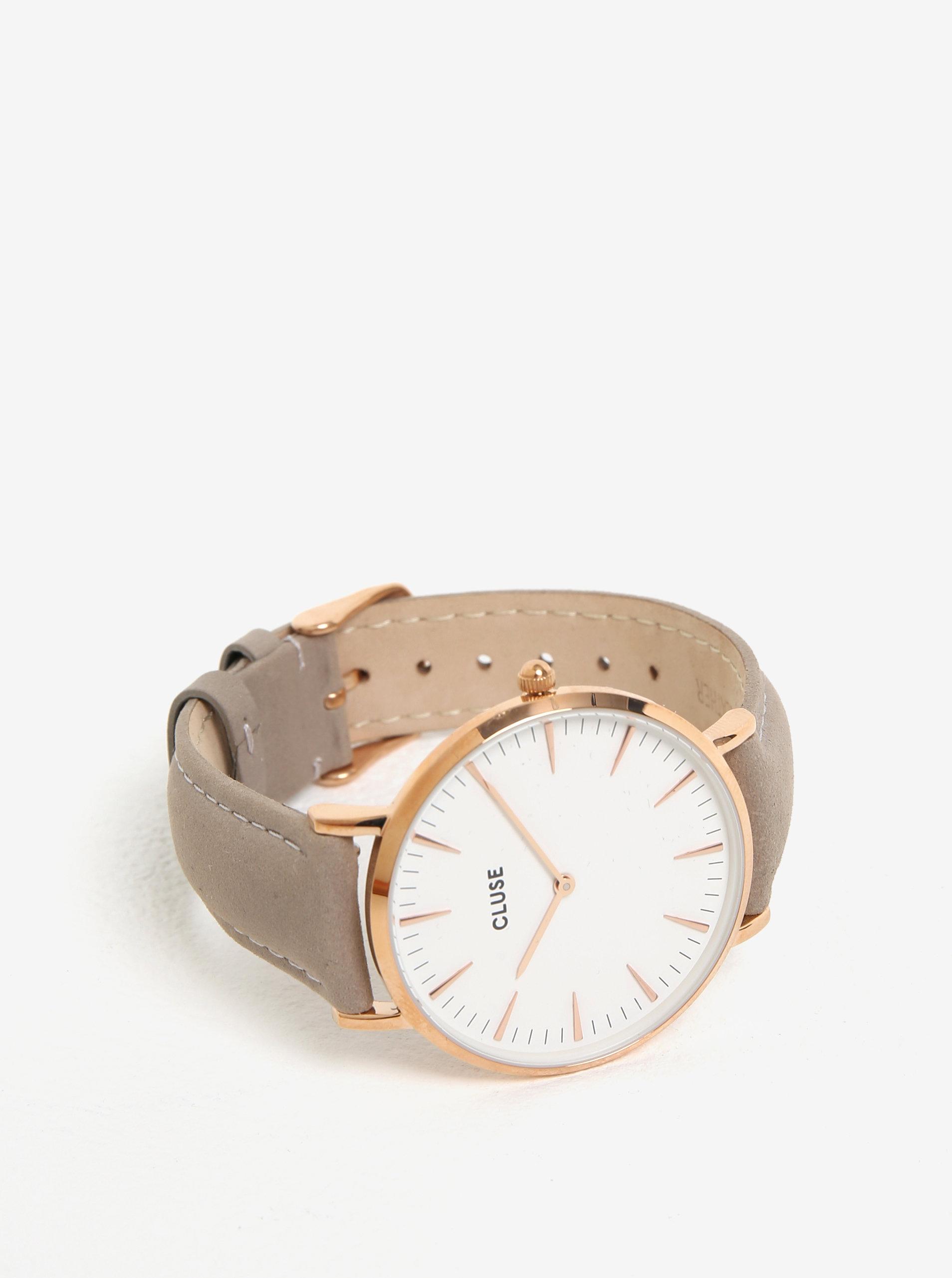 9418a361c Dámské hodinky s vyměnitelnými koženými pásky v černé a šedé barvě CLUSE ...