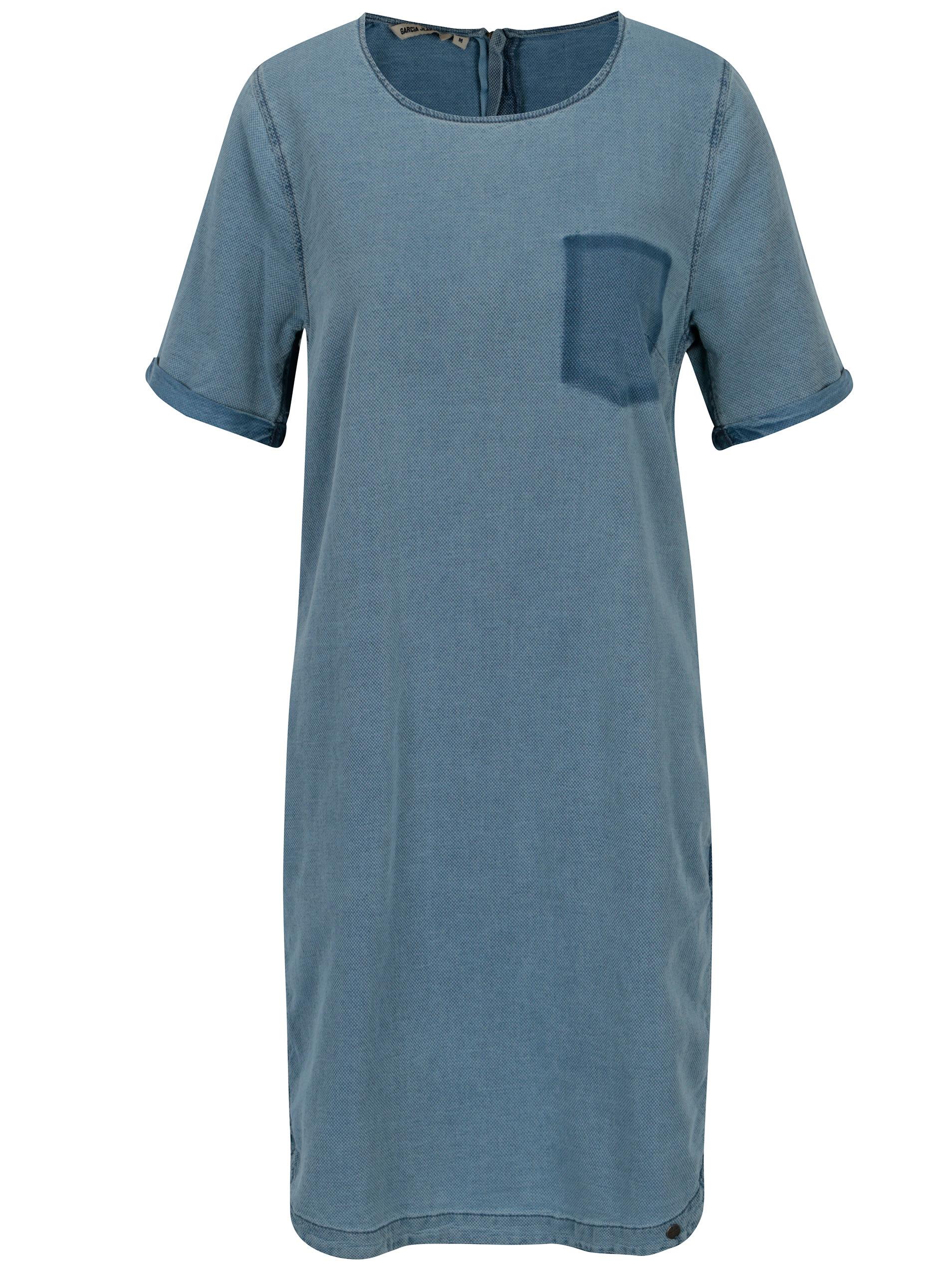 a488894ad8de Modré dámske šaty s vreckami Garcia Jeans ...